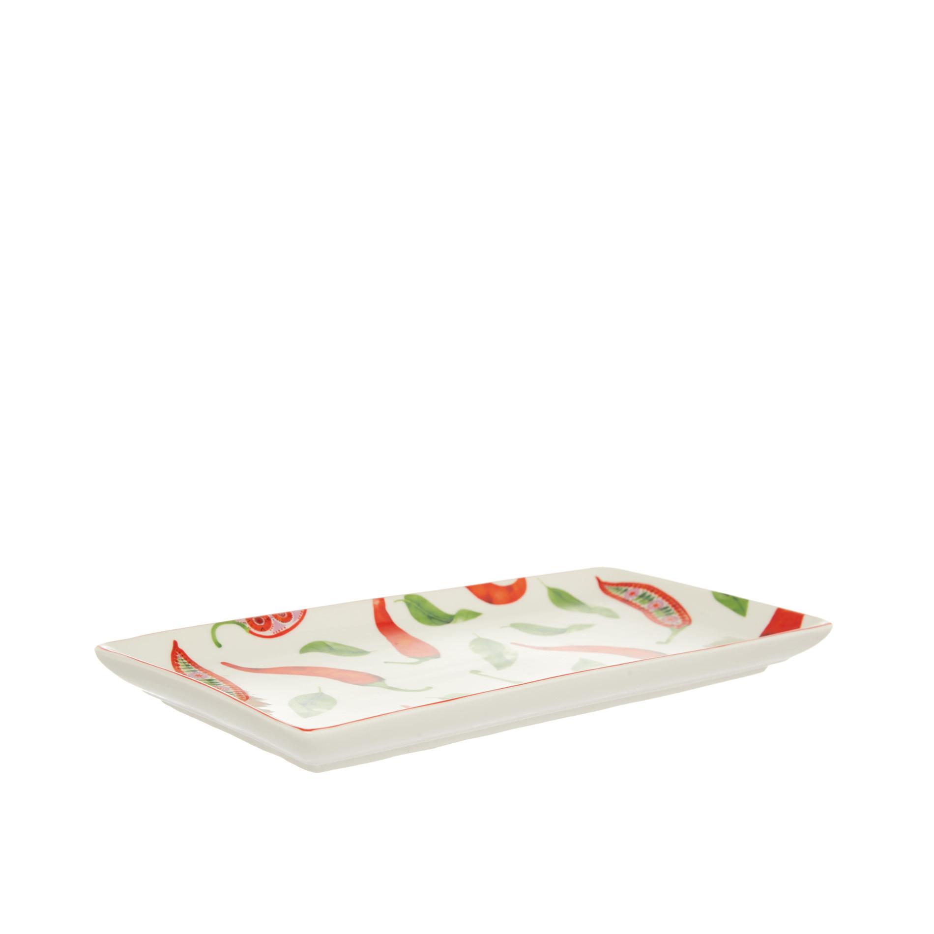 Vassoio new bone china decoro peperoncini, Bianco/Rosso, large image number 0