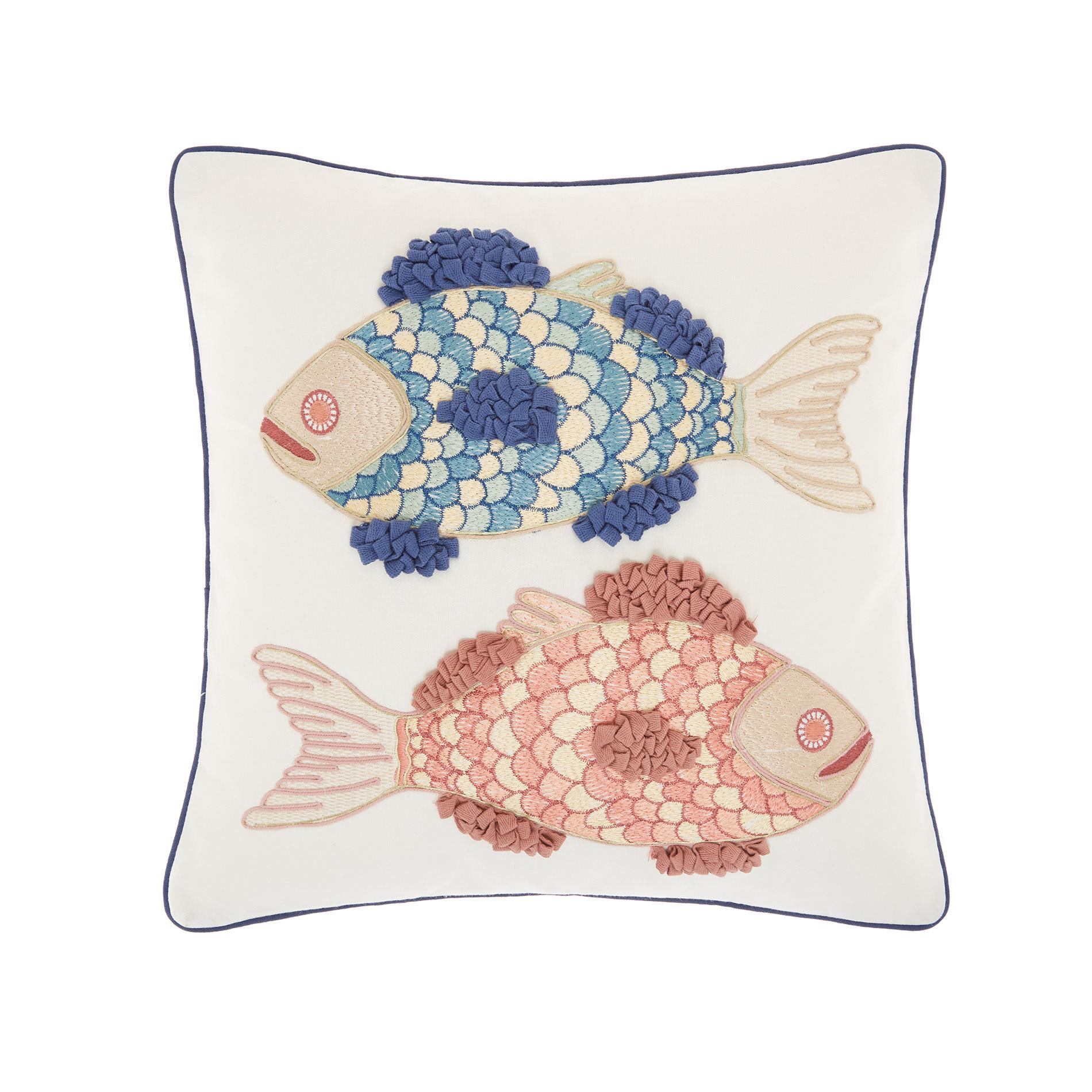 Cuscino ricamo pesci 45x45cm, Bianco, large image number 0