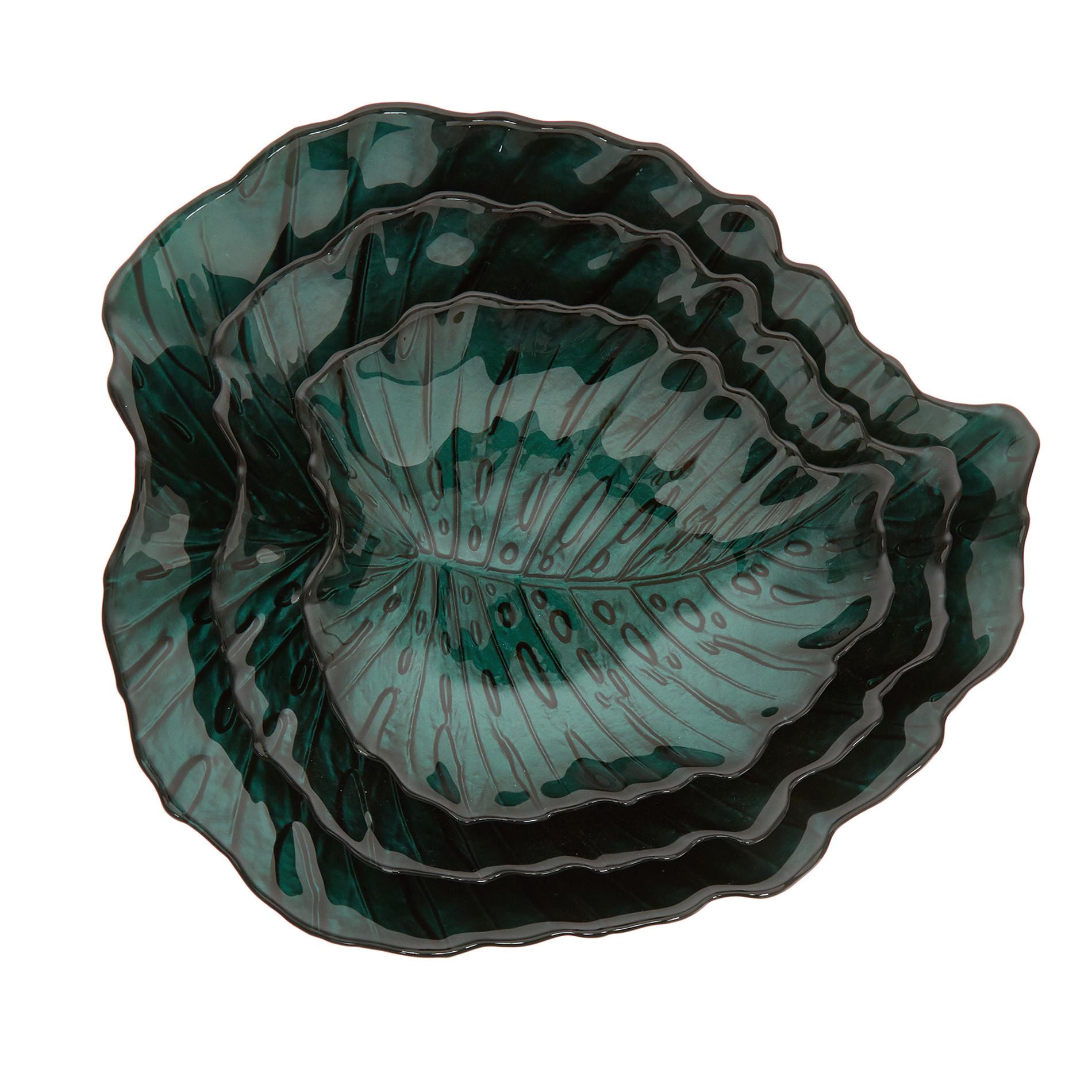 Piatto da portata vetro a foglia, Verde scuro, large image number 1