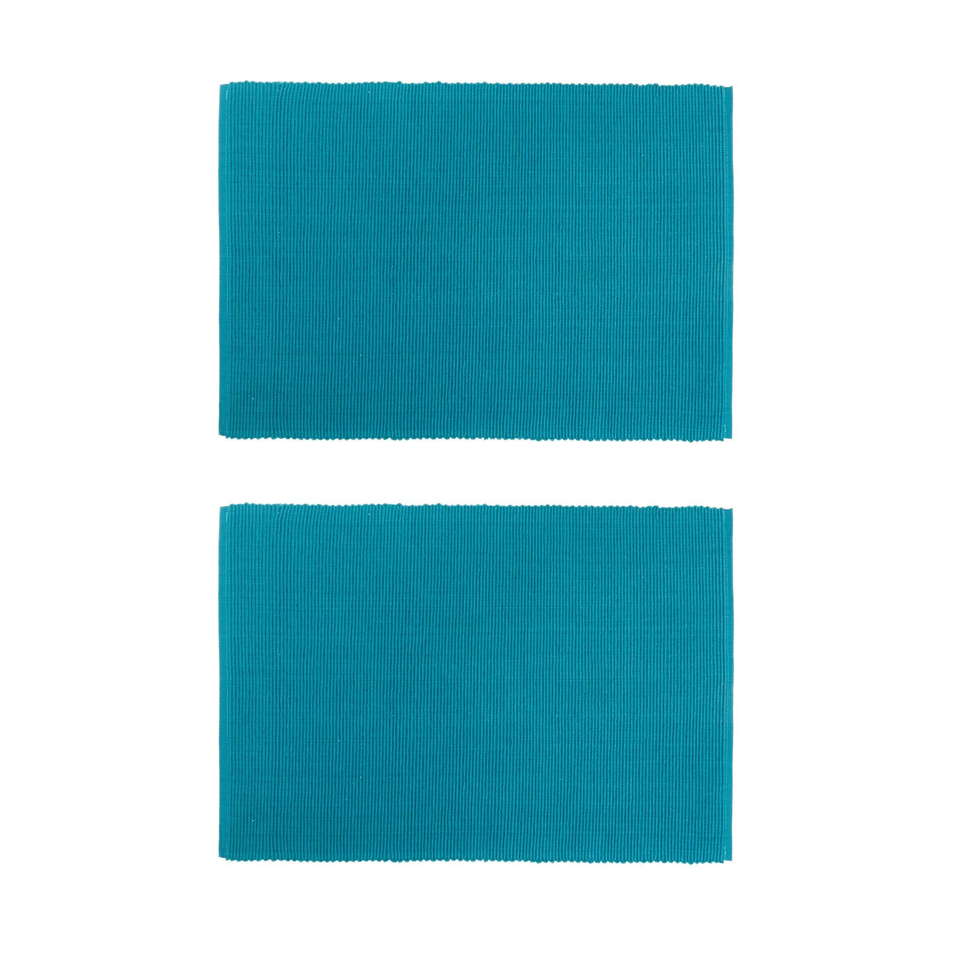 Set 2 tovagliette puro cotone tinta unita, Verde ottanio, large image number 0