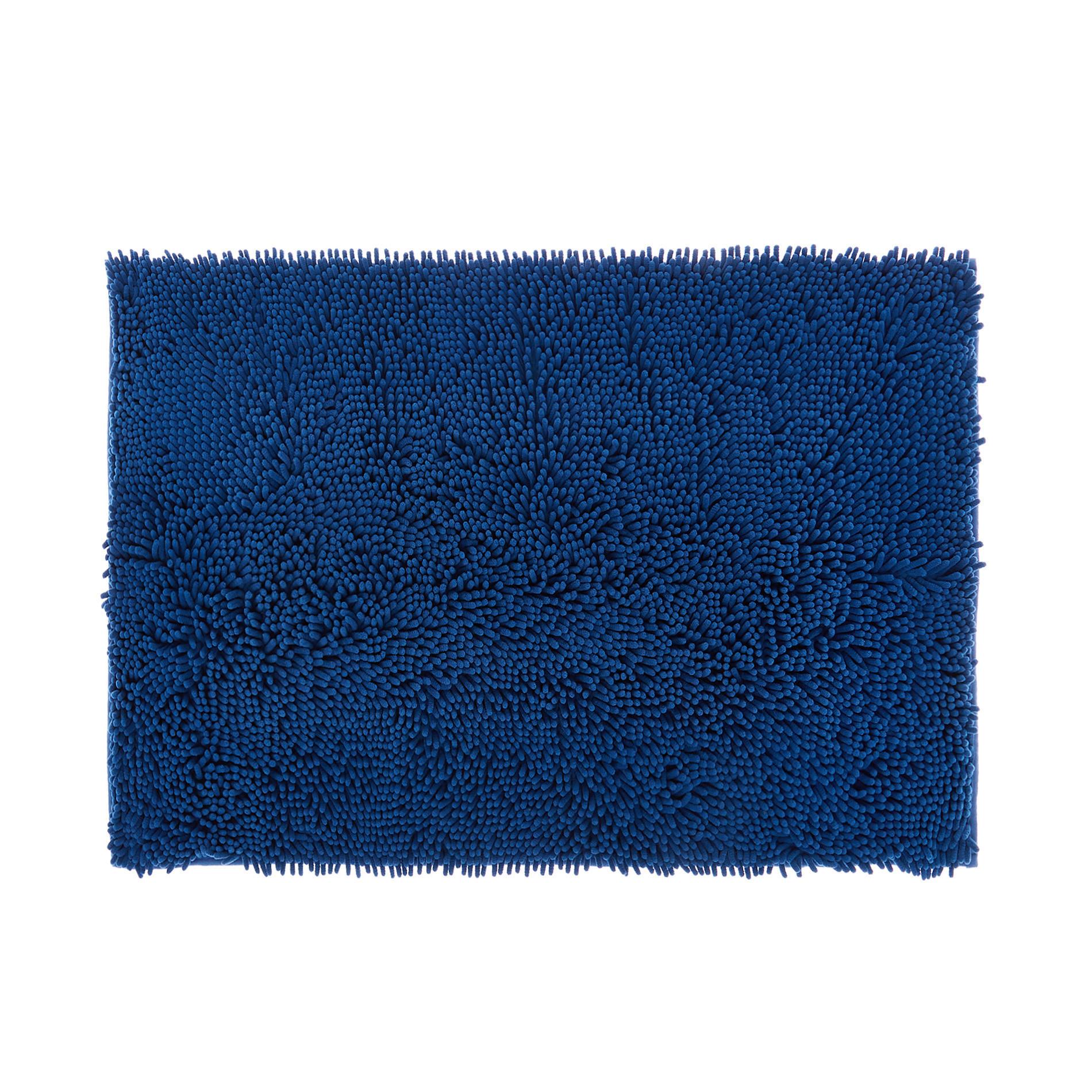 Tappeto bagno microfibra shaggy, Blu, large image number 0