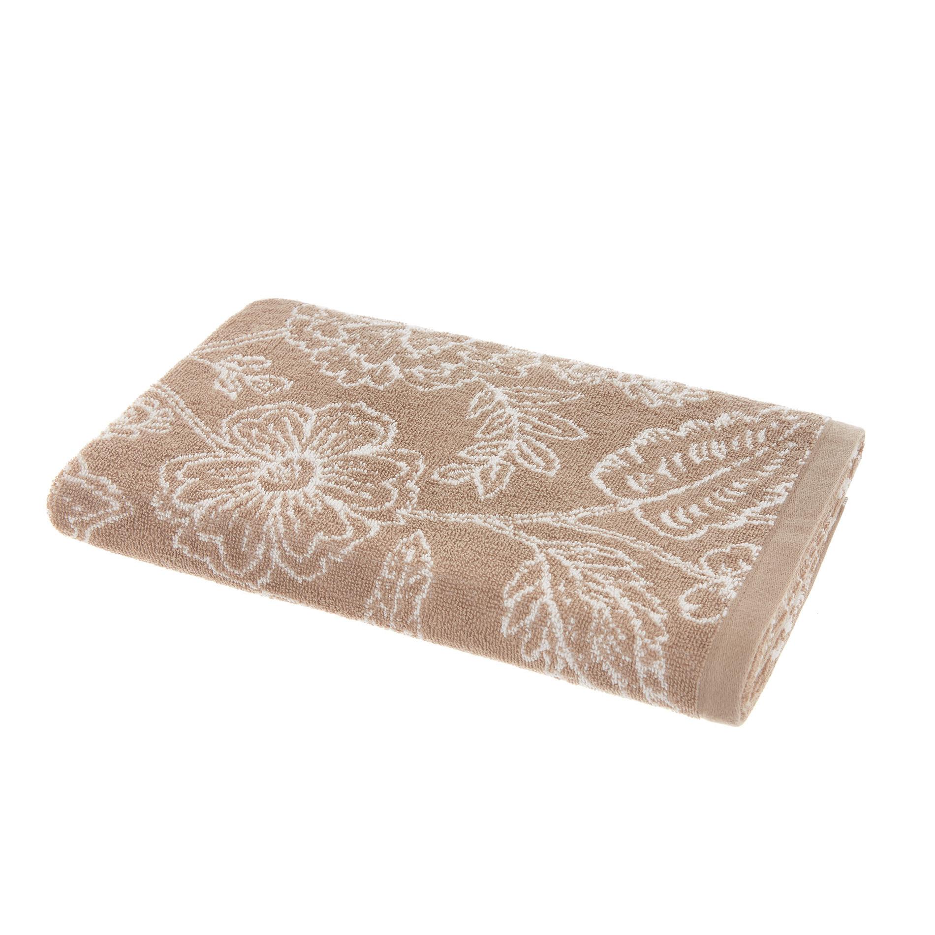 Asciugamano spugna di cotone fantasia floreale, Beige, large image number 1