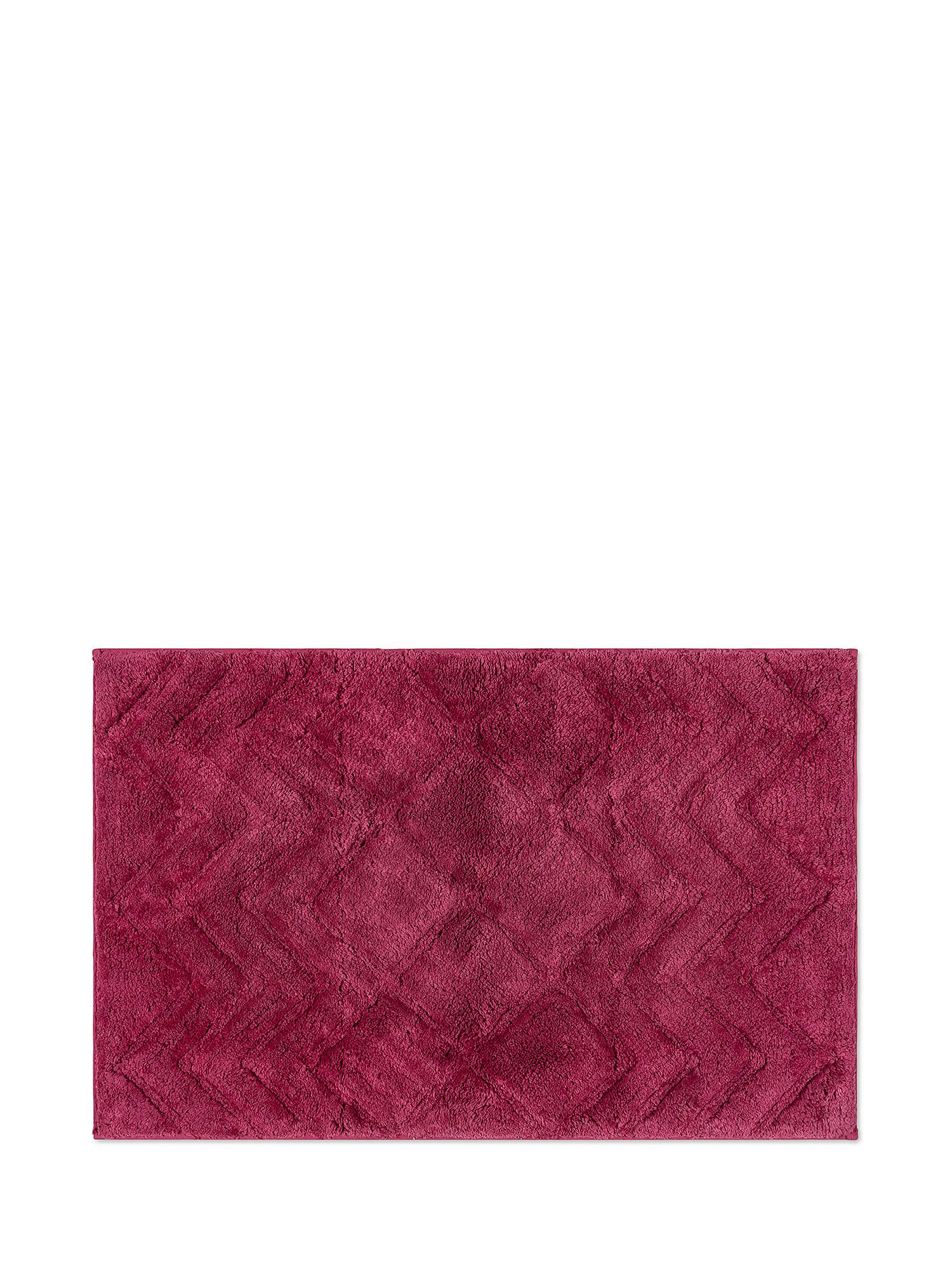 Tappeto bagno spugna di cotone motivo a rombi, Rosa scuro, large image number 0
