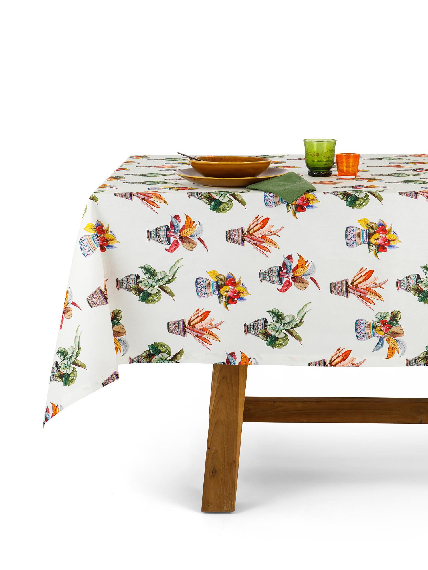 Tovaglia puro cotone organico stampa vasi, Multicolor, large image number 0