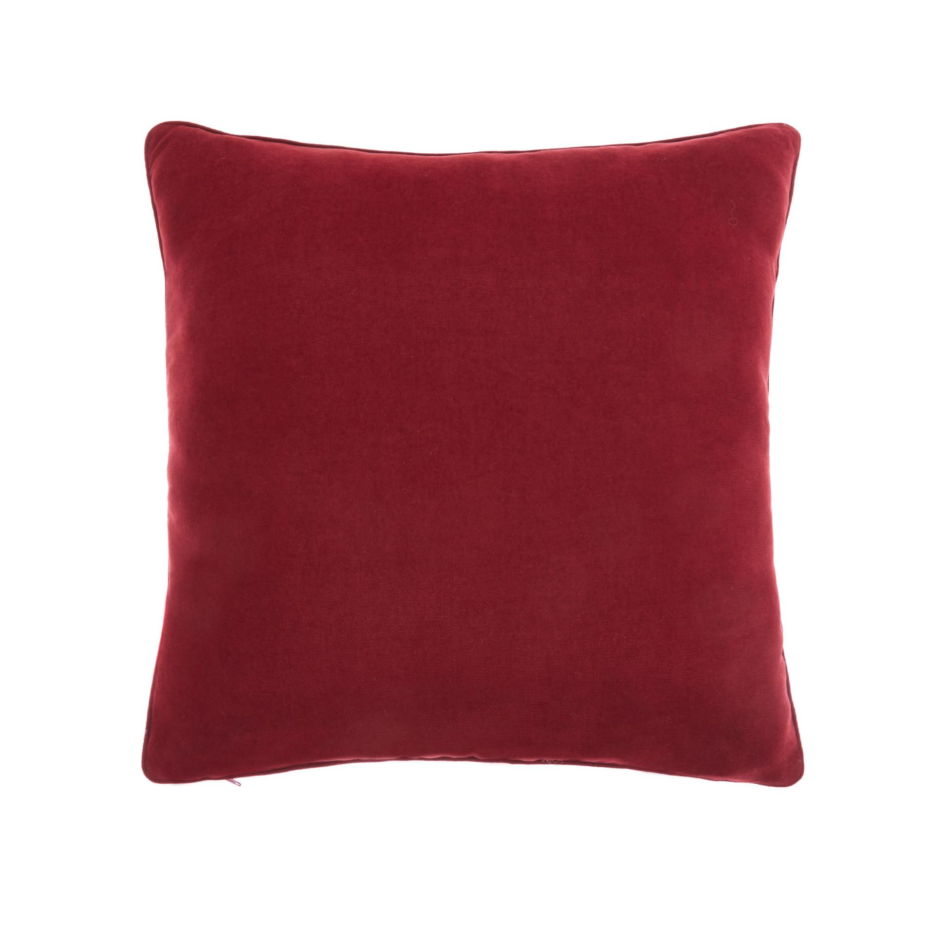 Cuscino melange tinta unita, Rosso scuro, large image number 0