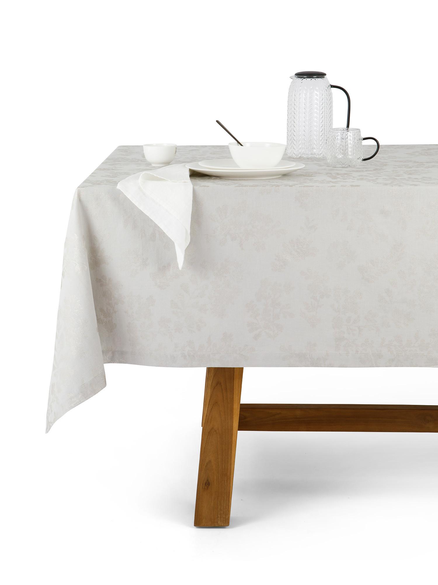 Tovaglia cotone e lino stampa foil, Grigio, large image number 0