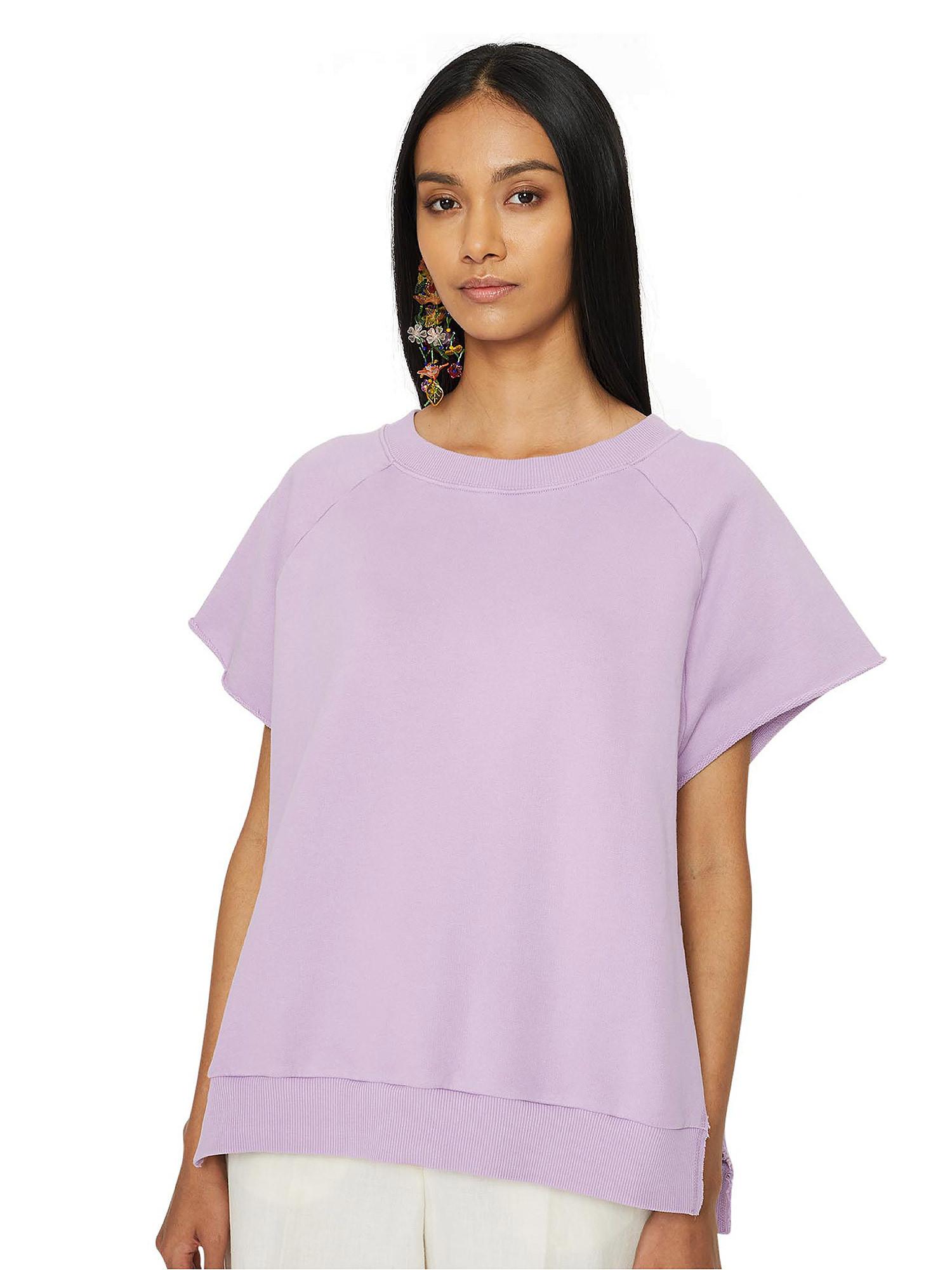 Felpa over donna in cotone, Viola lilla, large image number 3