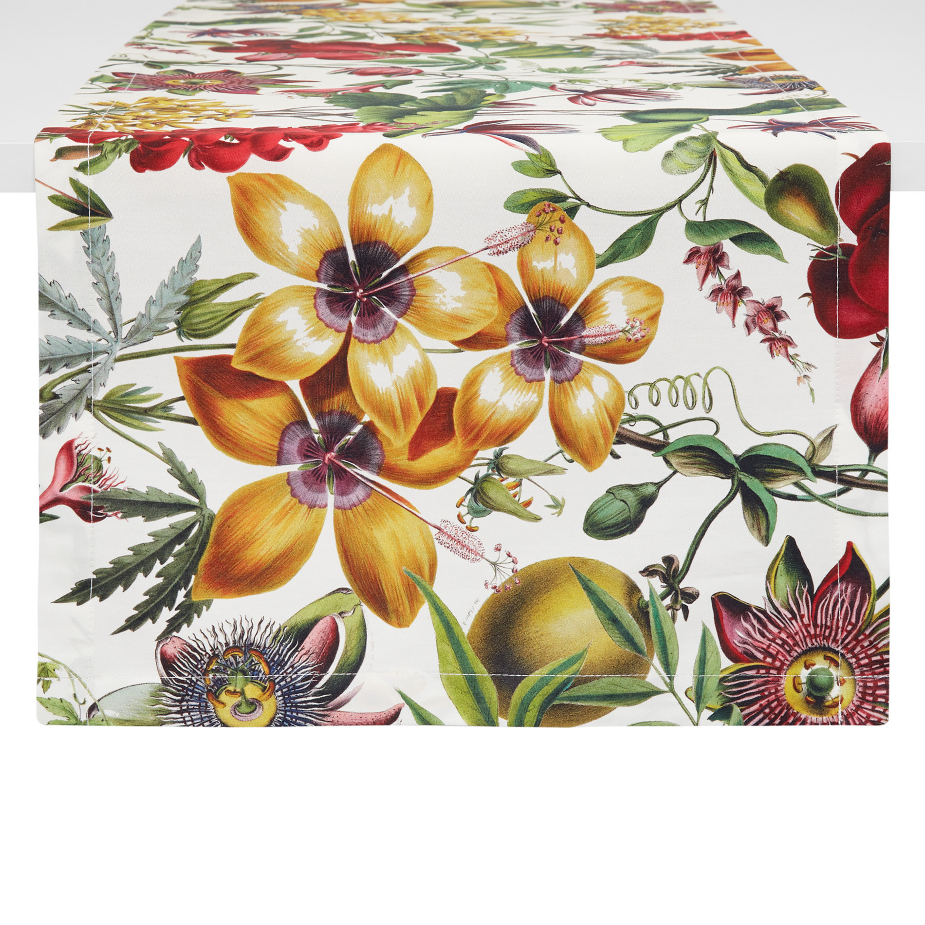 Runner twill di cotone stampa floreale, Bianco, large image number 0