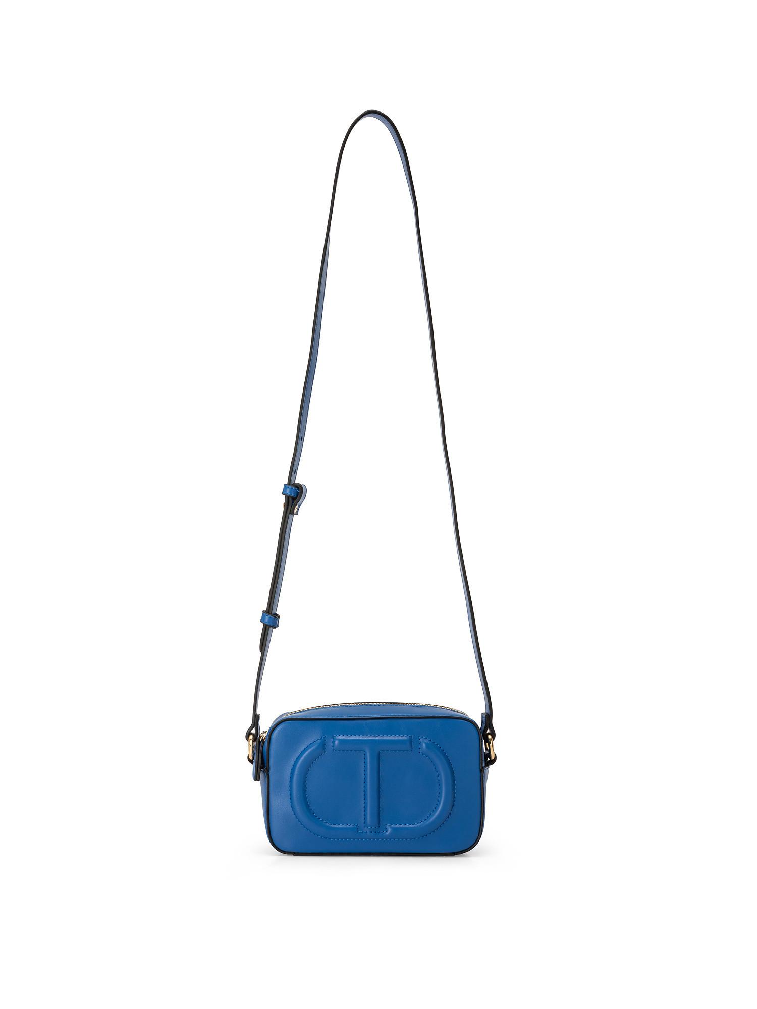 Tracolla piccola con zip e maxi logo trapuntato, Blu, large image number 0