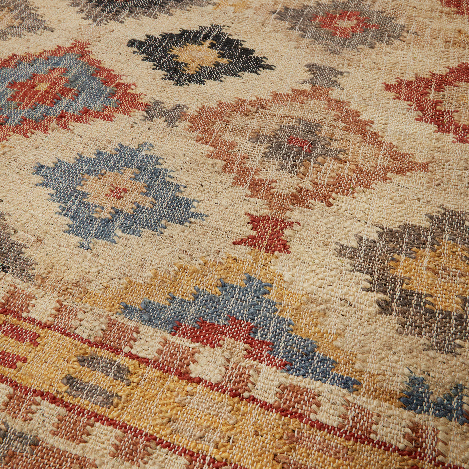 Tappeto juta tessuto a mano, Multicolor, large image number 1