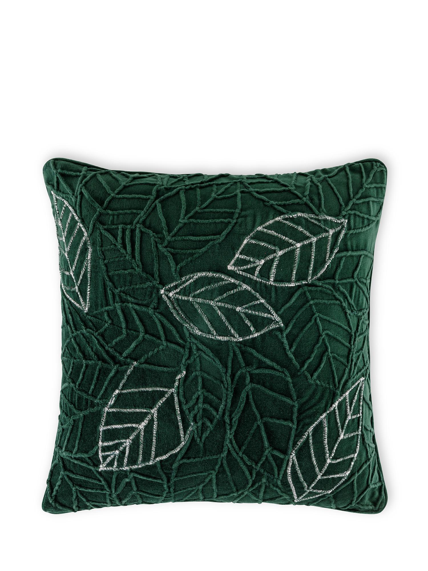 Cuscino velluto motivo foglie 45x45cm, Verde, large image number 0