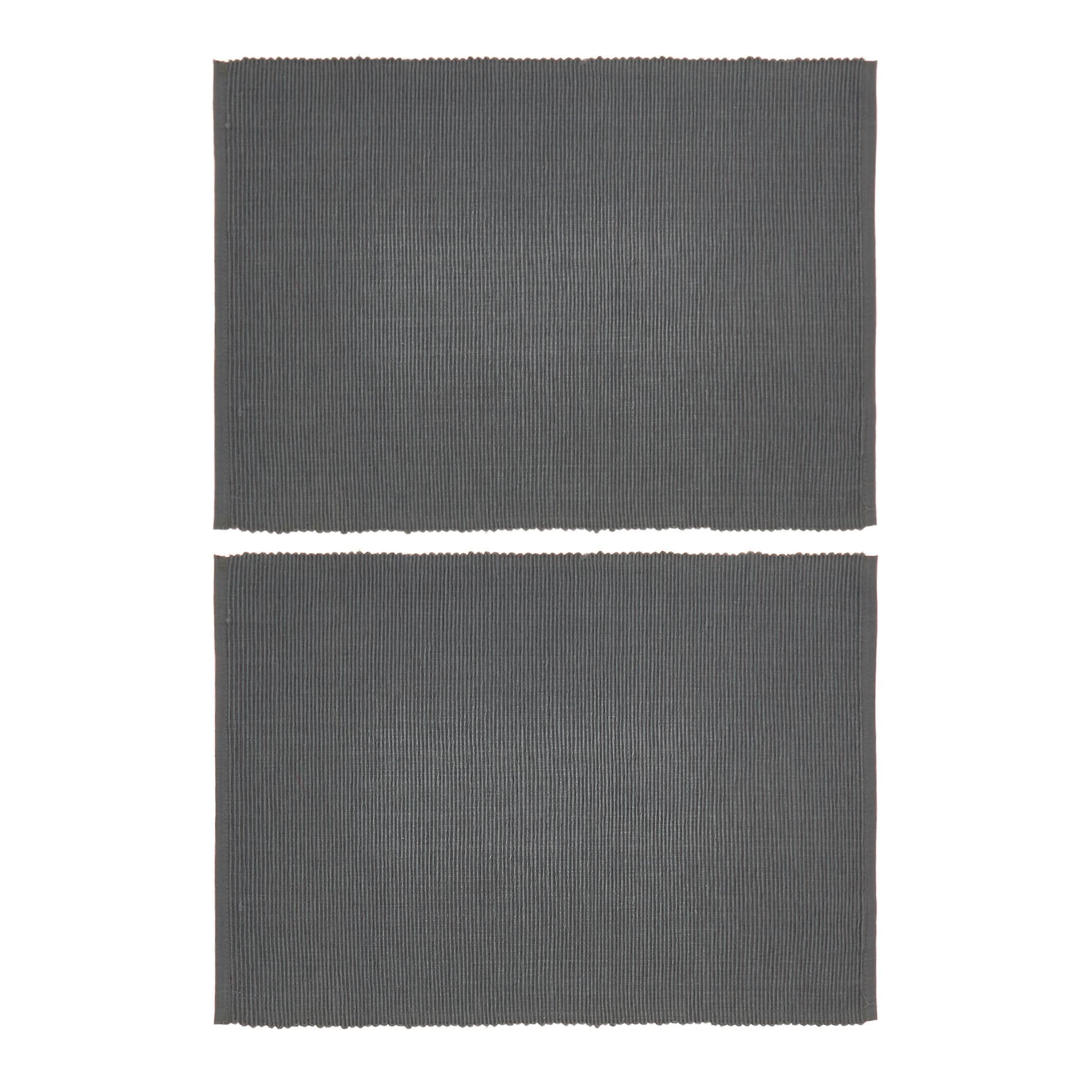 Set 2 tovagliette puro cotone tinta unita, Grigio, large image number 0