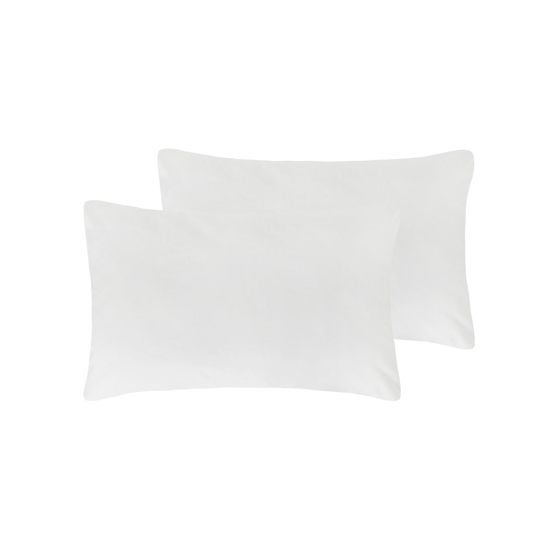 Coppia di copriguanciali puro cotone, Bianco, large image number 0