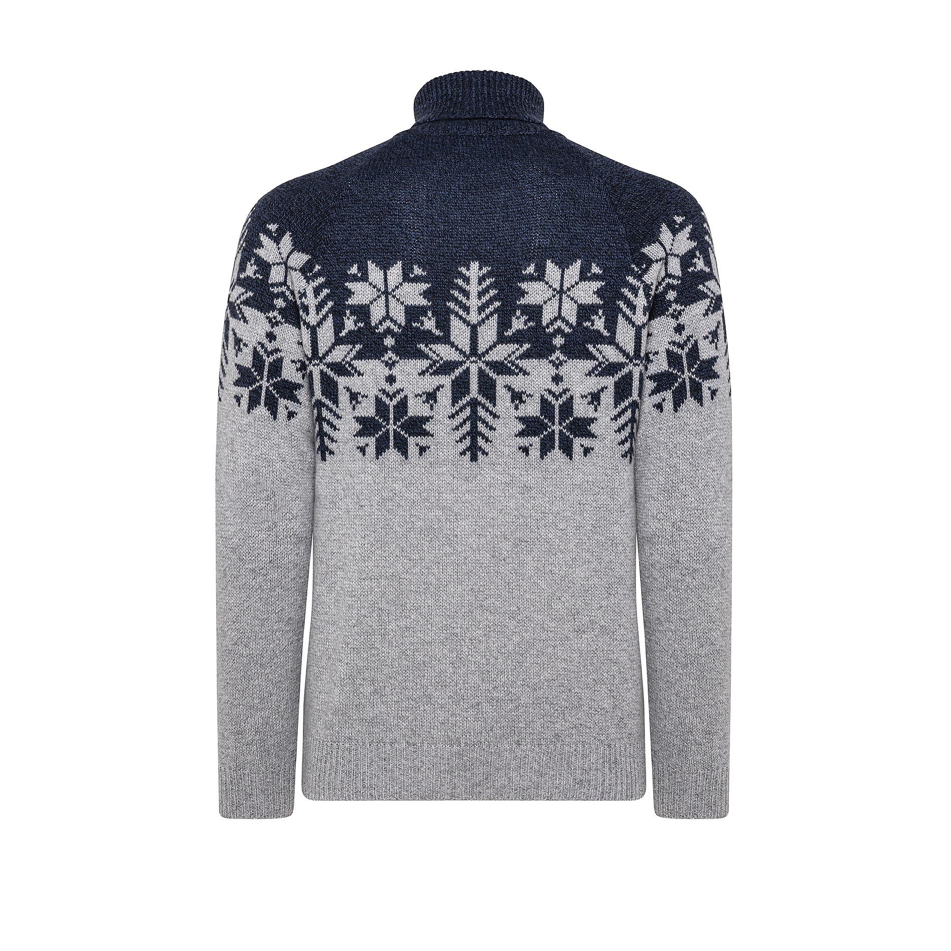 Pullover collo alto motivo natalizio, Blu, large image number 1