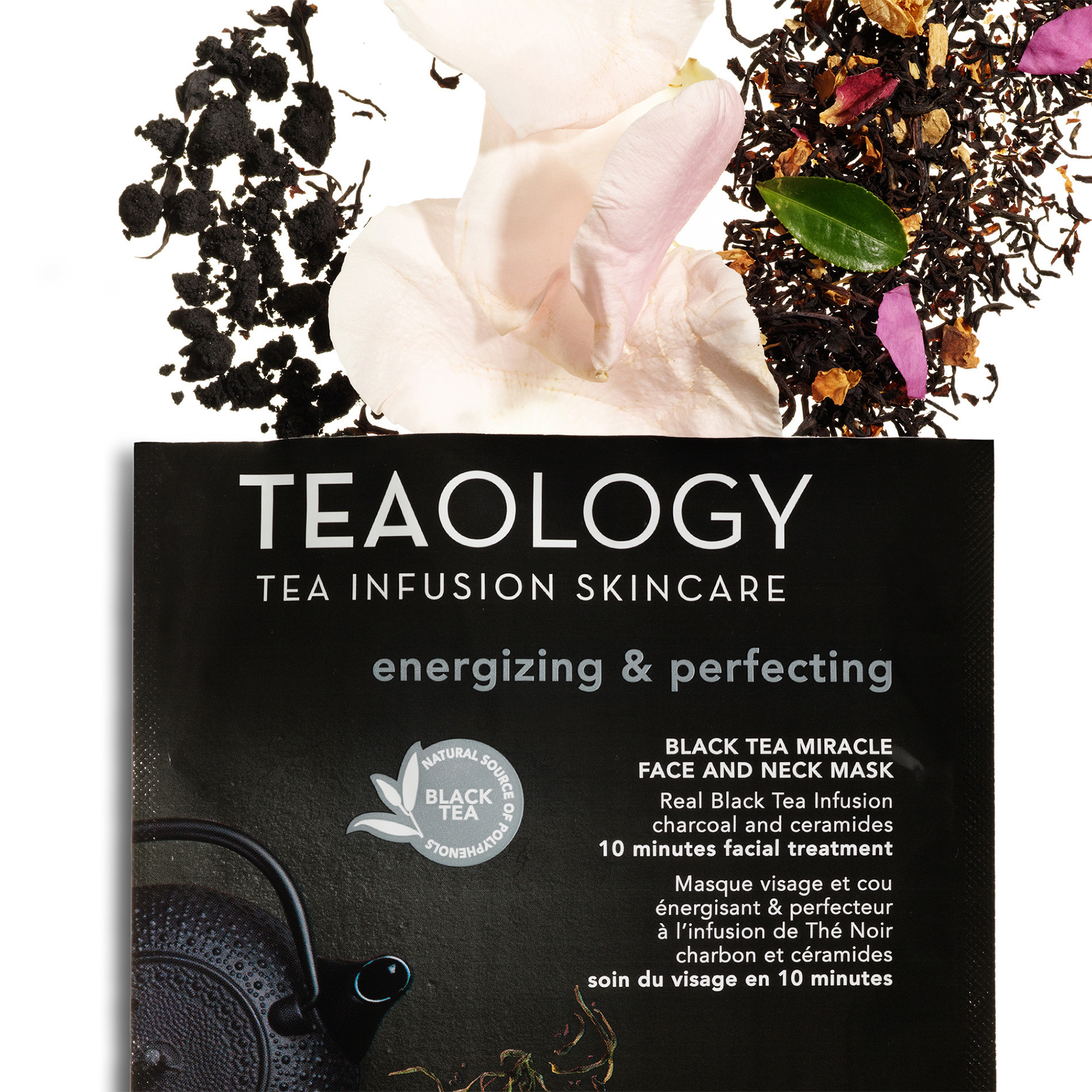 Teaology Black Tea Miracle Face and Neck Mask Energizzante e Perfezionatrice 30 ml, Nero, large image number 2
