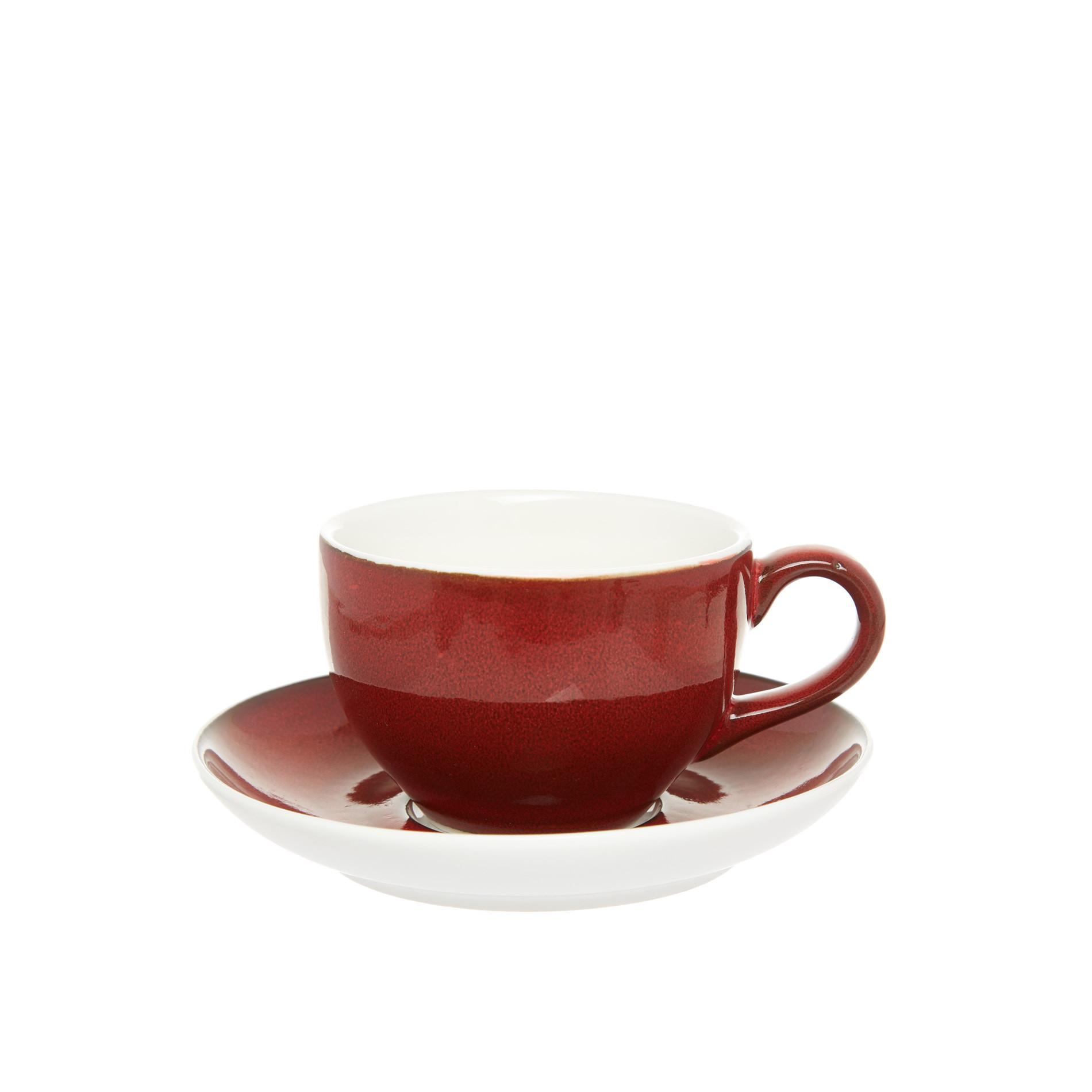Tazza da tè porcellana effetto puntinato, Bianco/Rosso, large image number 0