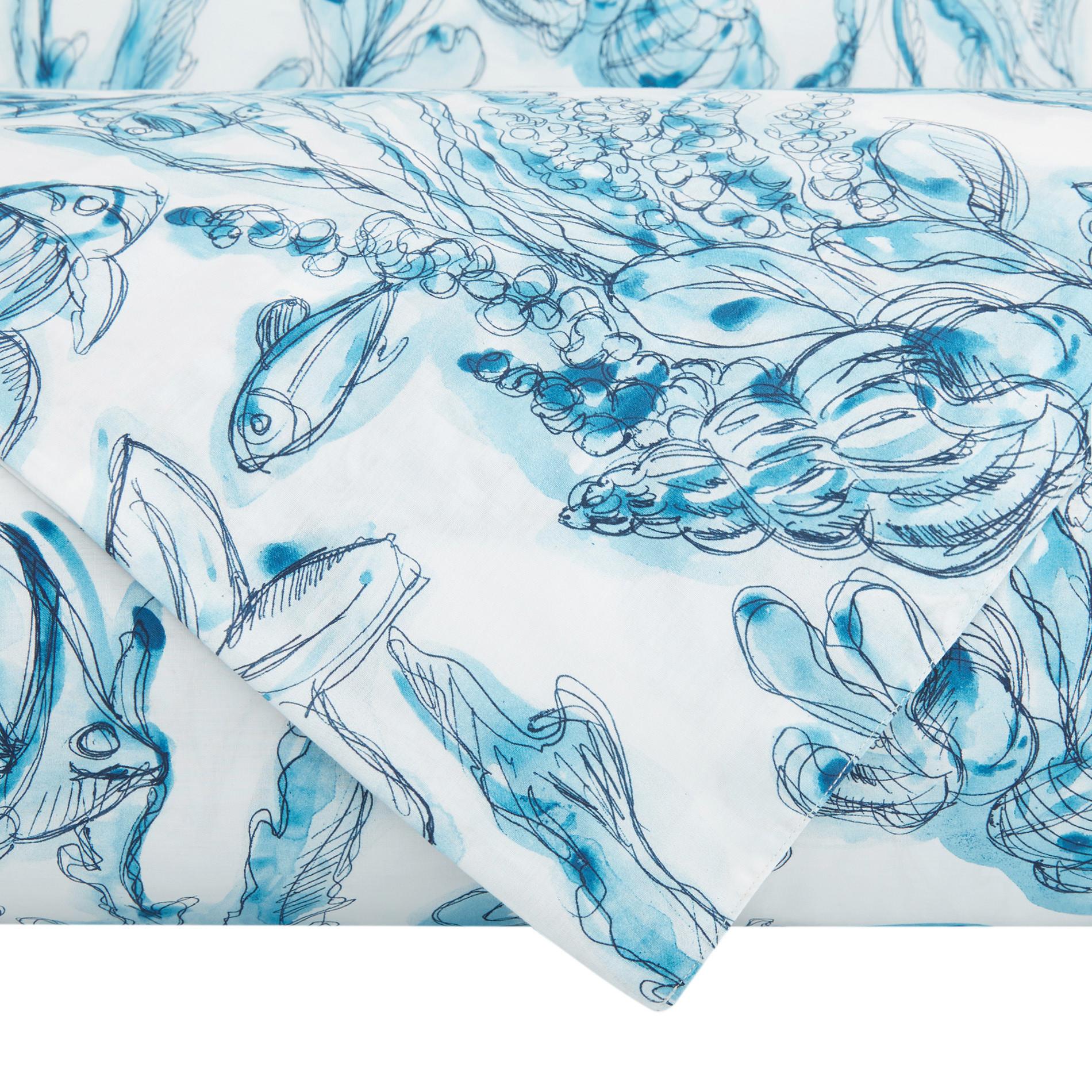 Copripiumino cotone biologico fantasia marina, Blu, large image number 2