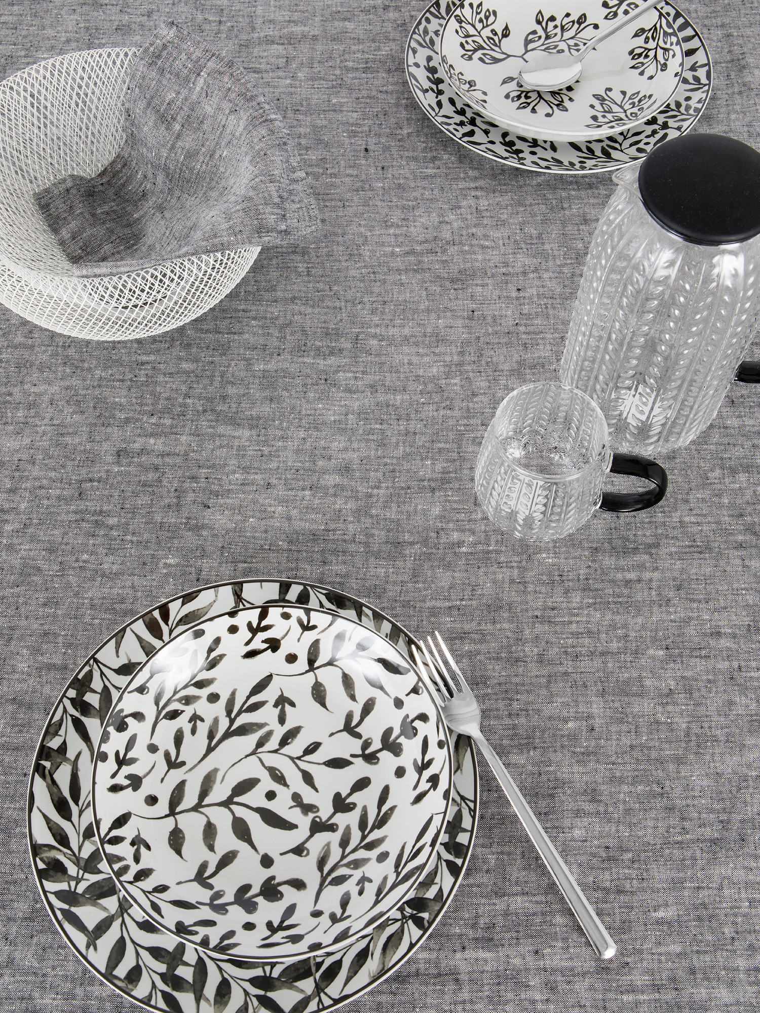 Tovaglia puro lino lavato tinta unita, Grigio, large image number 1