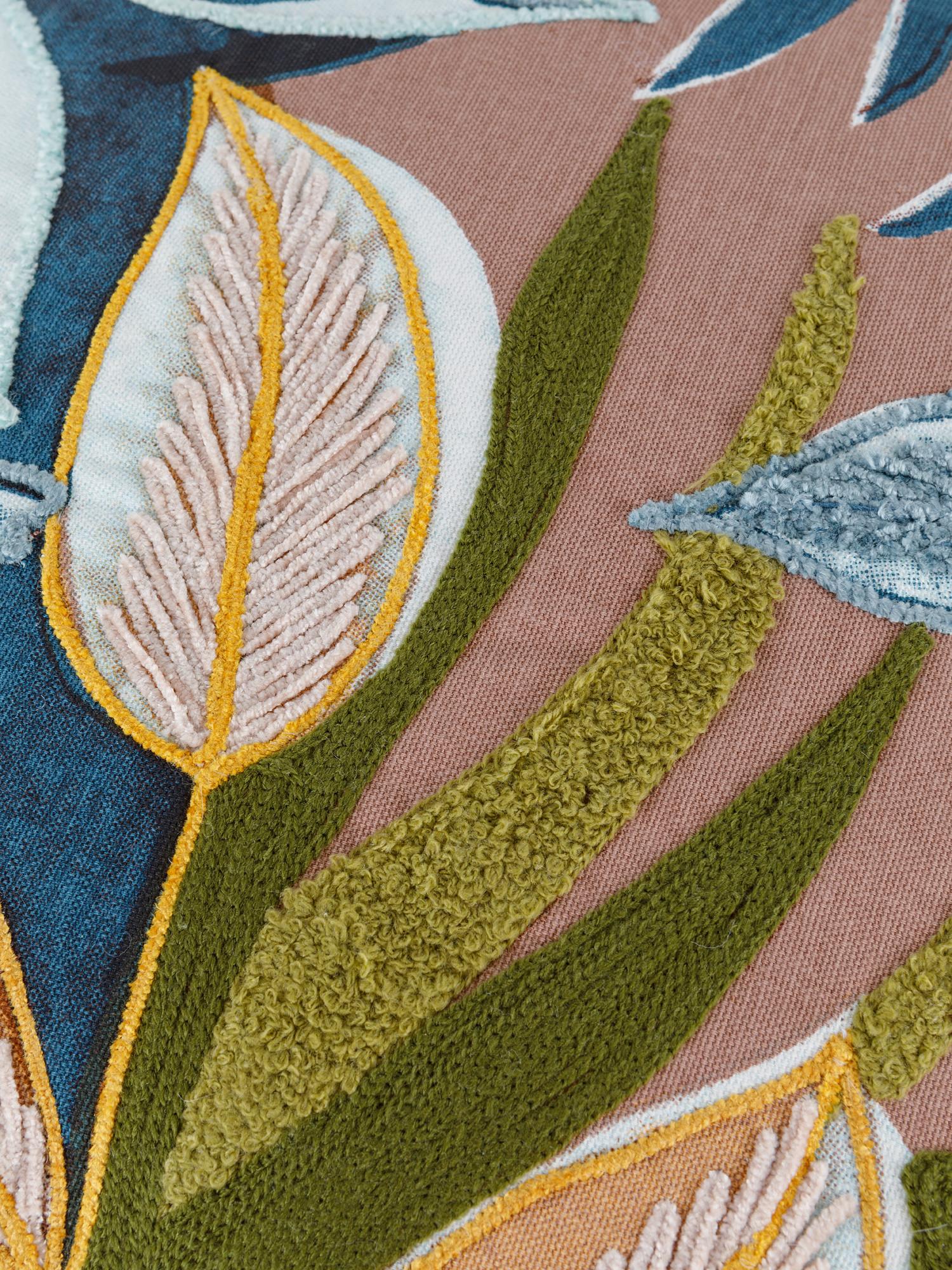 Cuscino cotone ricamo piante 45x45cm, Multicolor, large image number 2