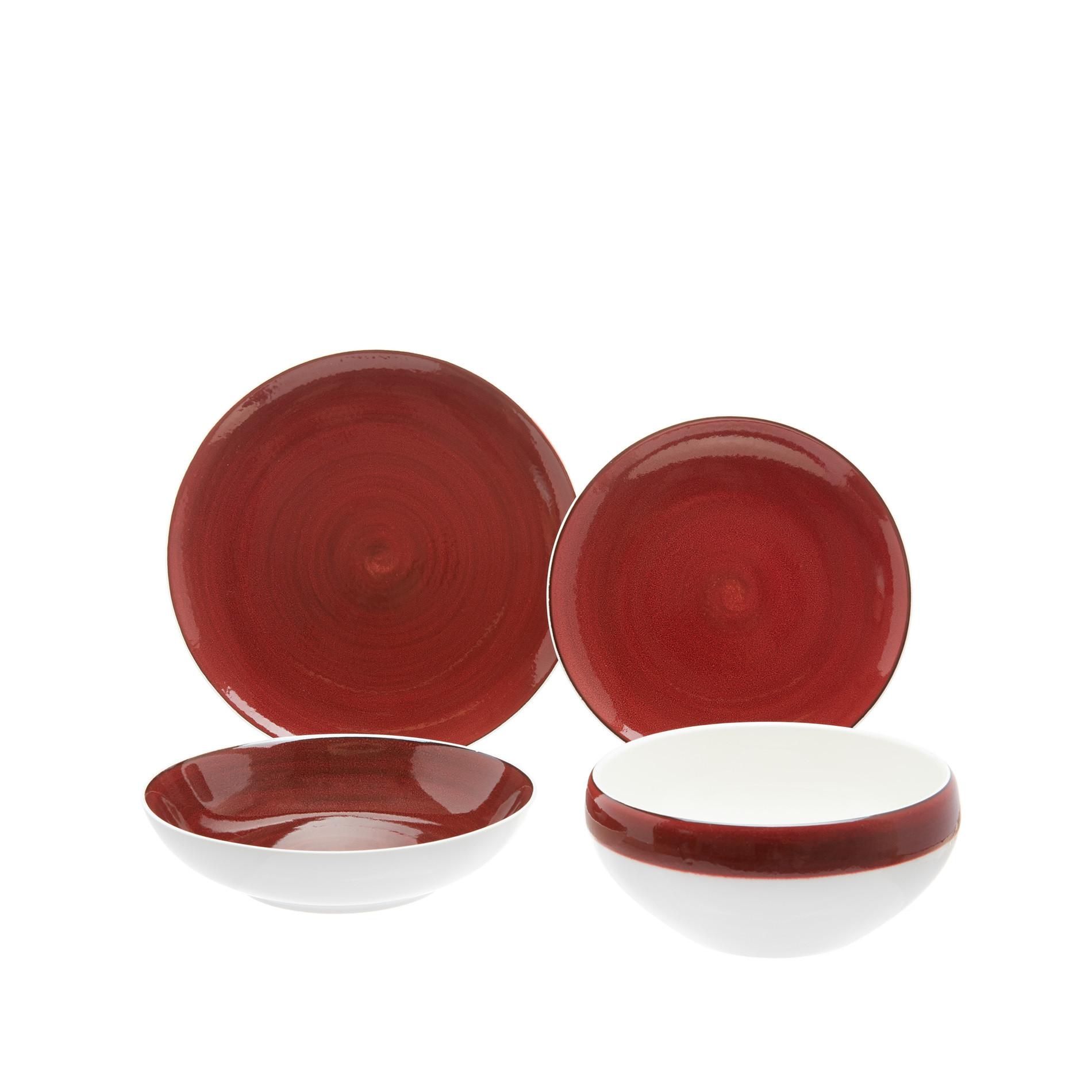 Piatto piano porcellana effetto puntinato, Bianco/Rosso, large image number 1