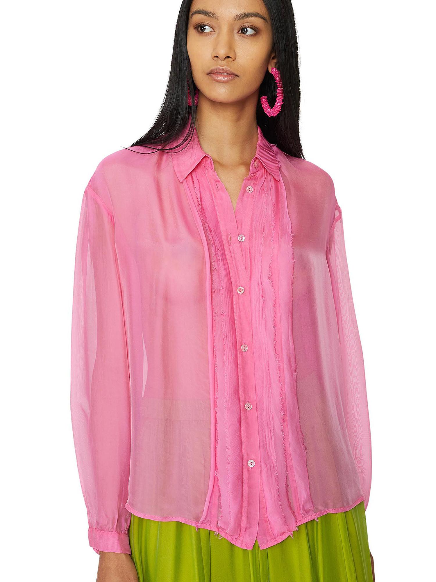 Camicia in chiffon Vanilla, Rosa fuxia, large image number 5
