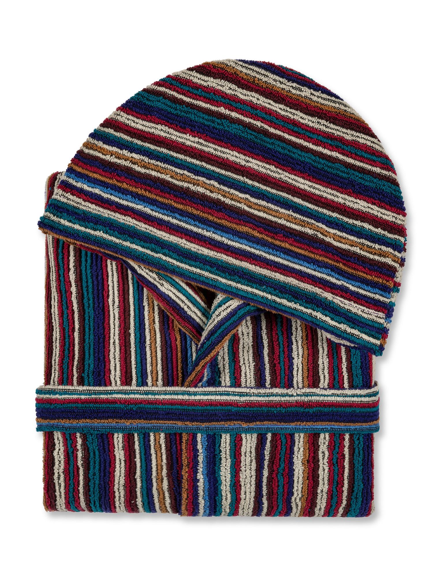 Accappatoio spugna di cotone motivo a righe, Multicolor, large image number 1