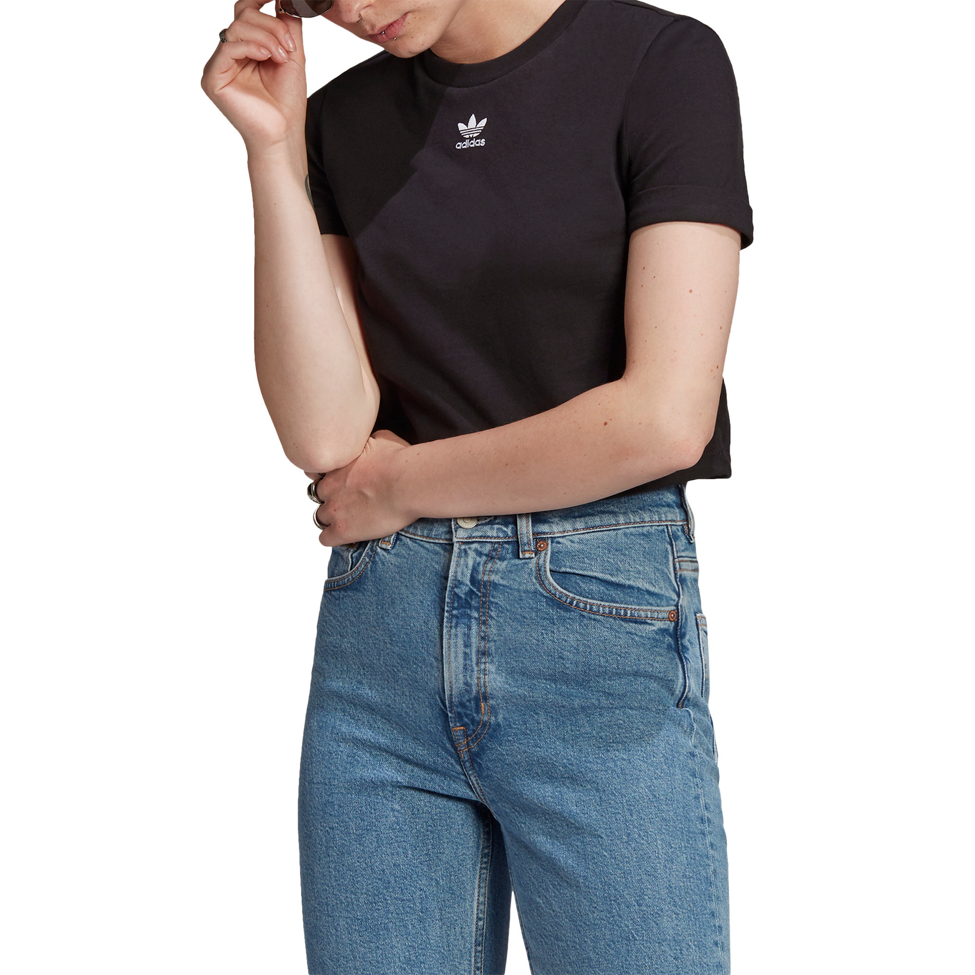 T-shirt adicolor Classics Roll-Up Sleeve Crop, Nero, large image number 3