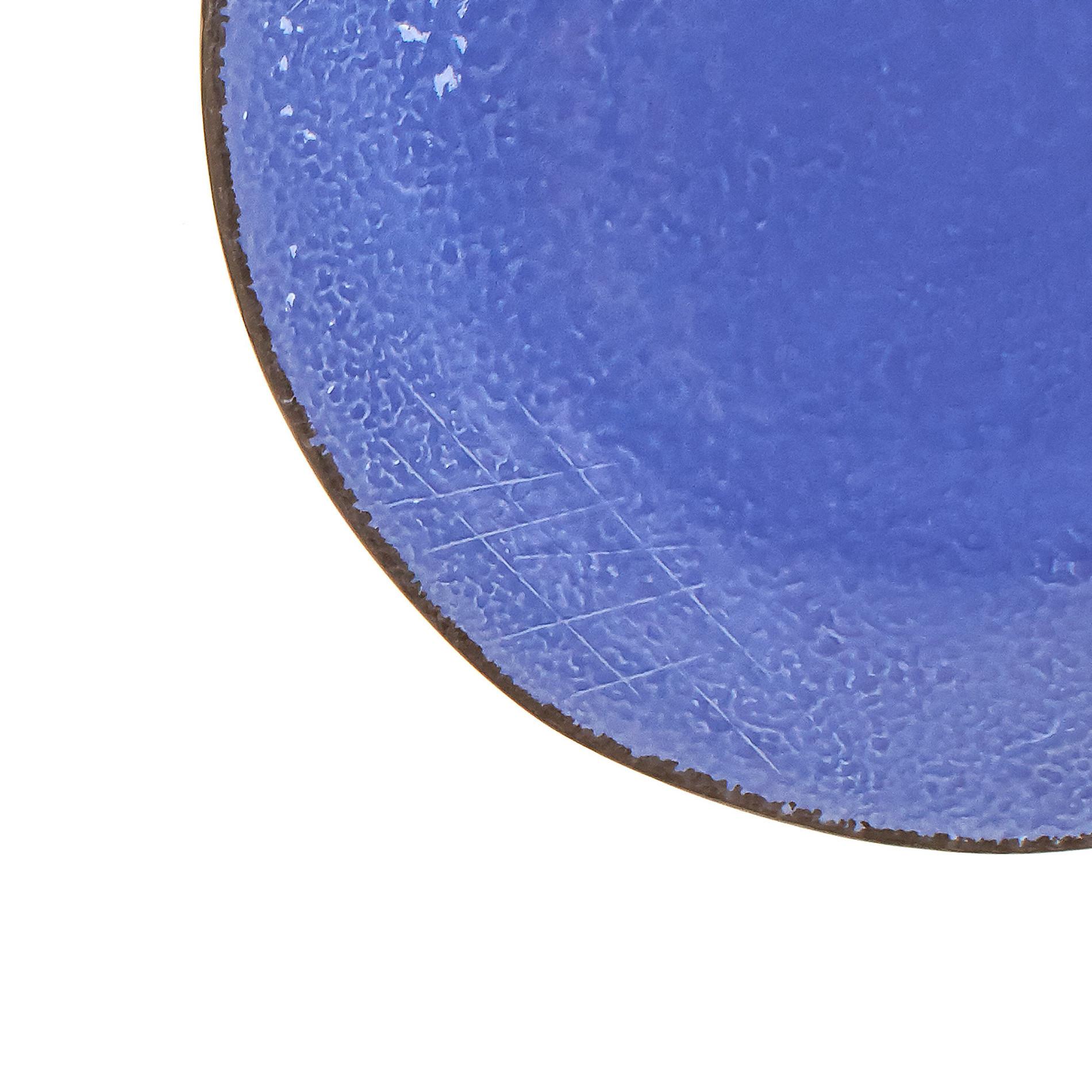Piatto piano ceramica artigianale Preta, Azzurro, large image number 2