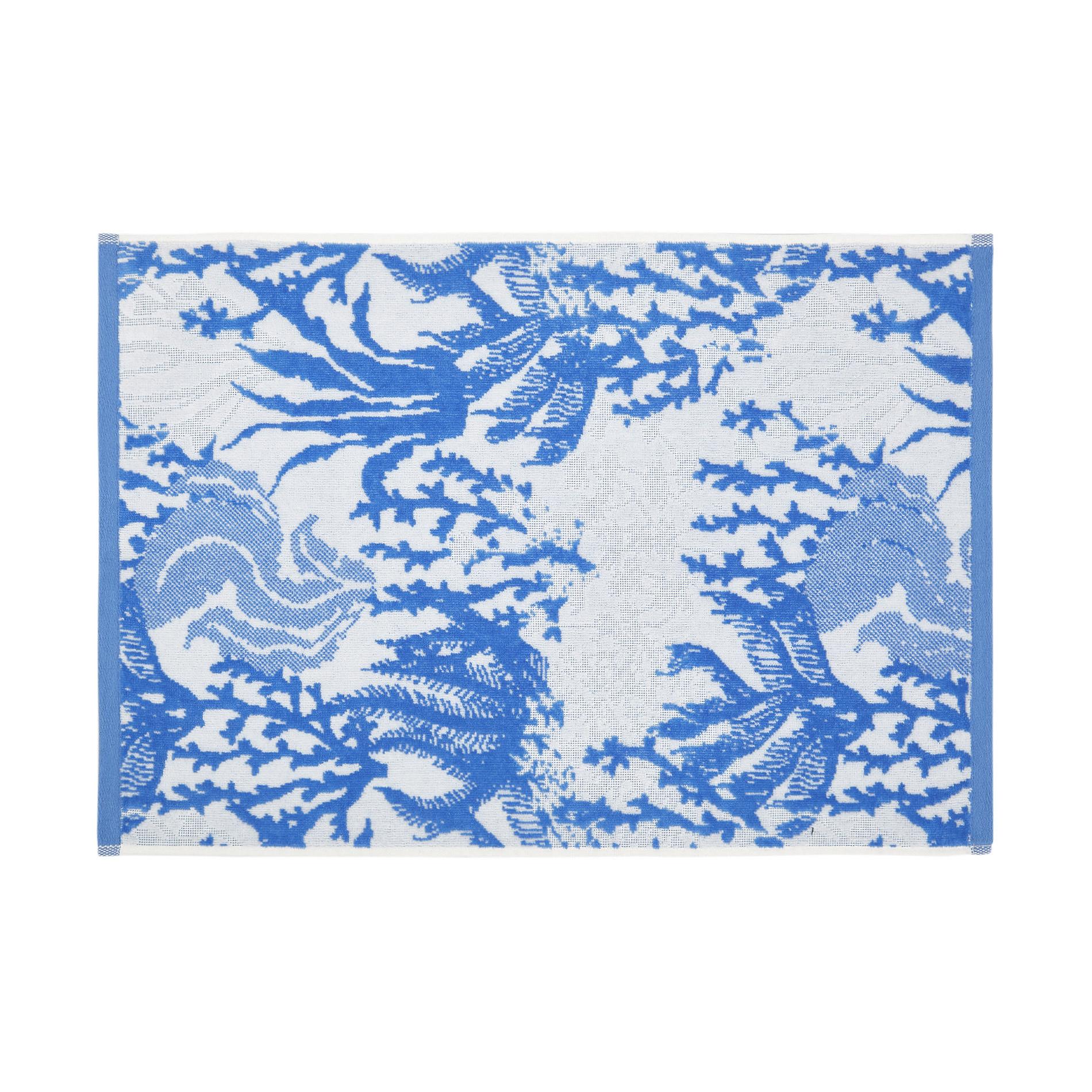 Asciugamano cotone velour motivo coralli, Blu, large image number 1