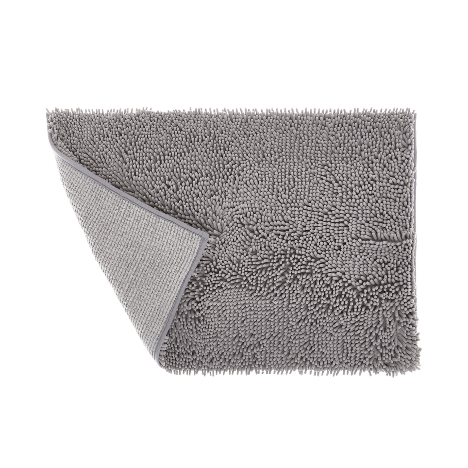Tappeto bagno microfibra shaggy, Grigio, large image number 1