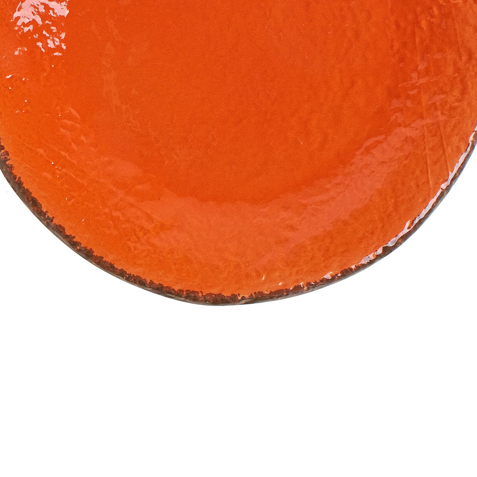 Piatto frutta ceramica fatto a mano, Arancione, large image number 2