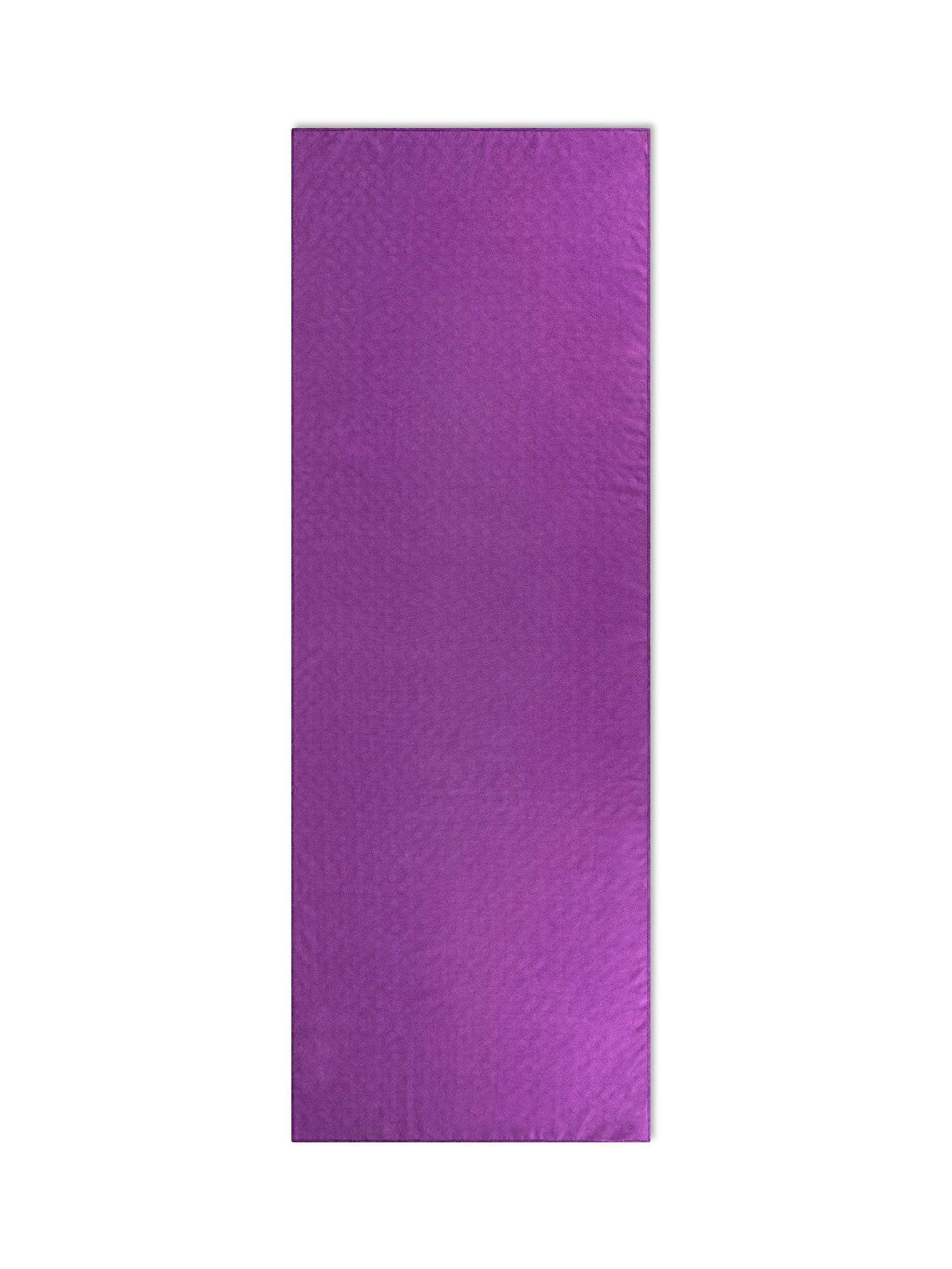 Telo yoga in microfibra tinta unita, Viola, large image number 1