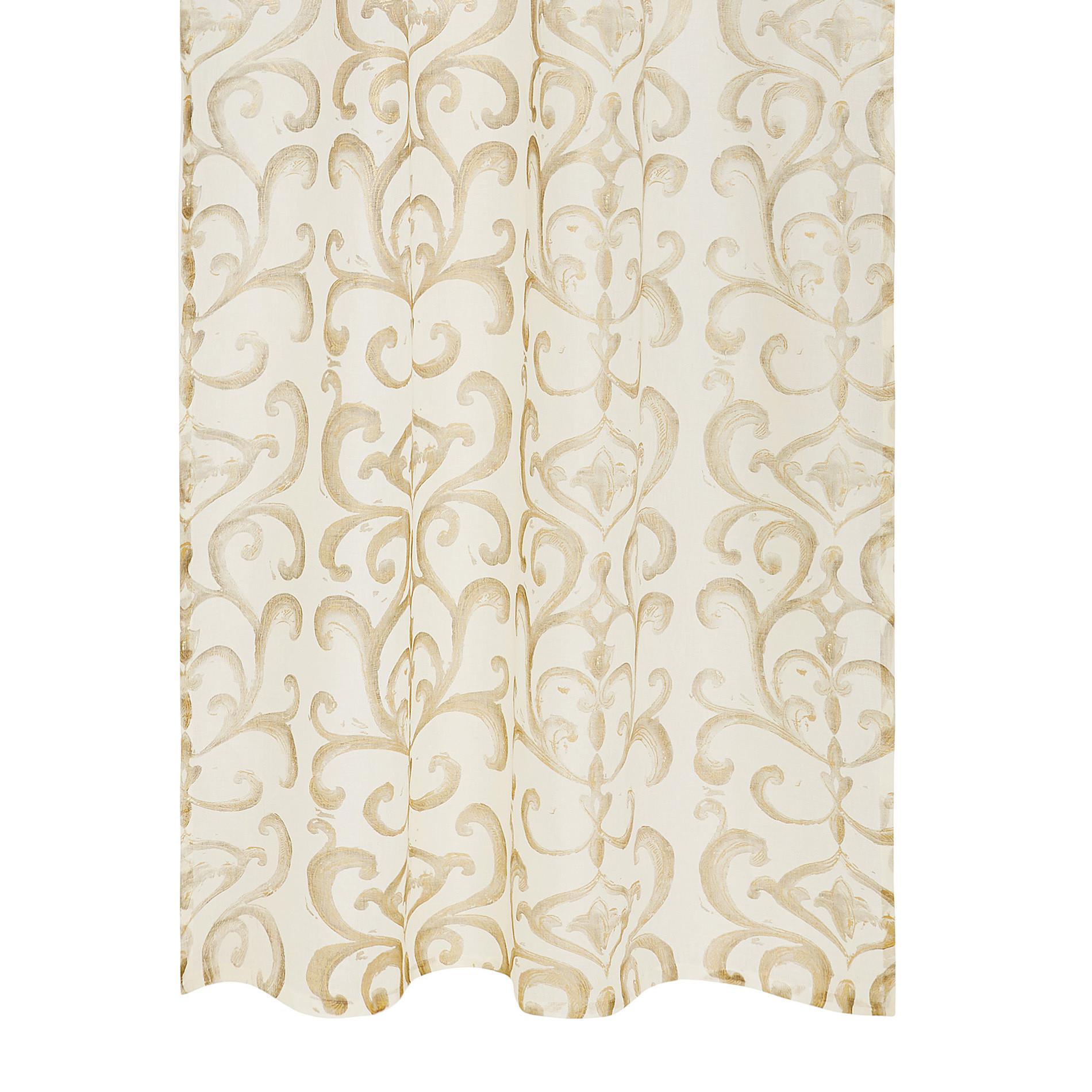 Tenda puro lino stampa devore, Bianco/Oro, large image number 0