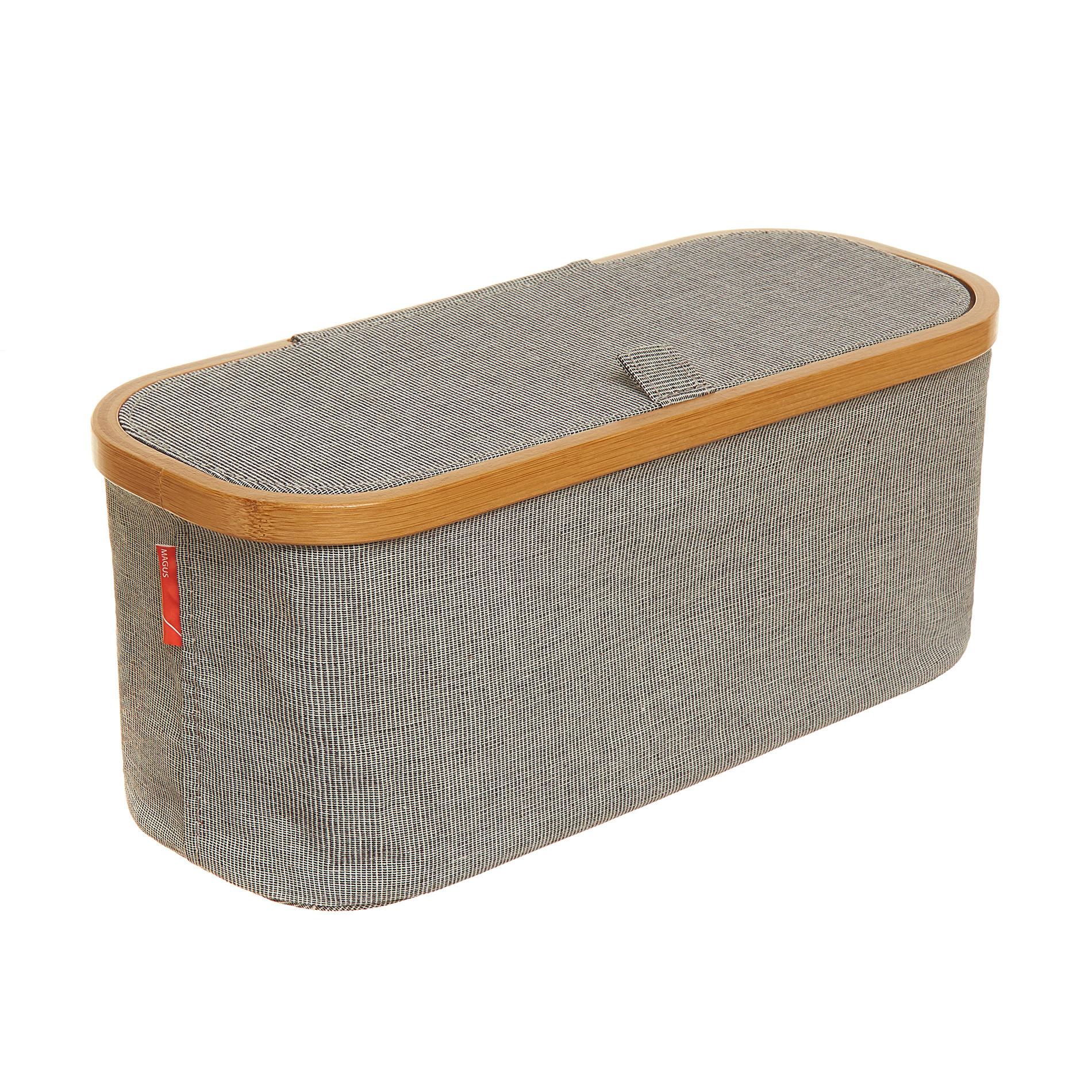 Portasalviette misto cotone e bordo in bamboo, Grigio, large image number 0
