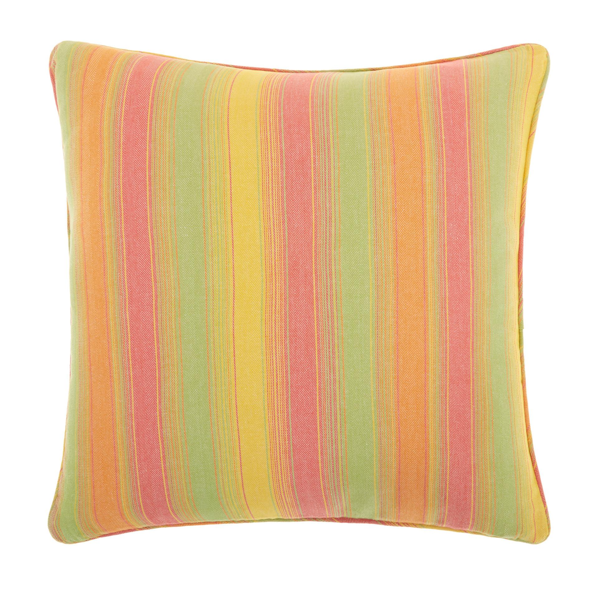 Cuscino puro cotone a righe, Arancione, large image number 0