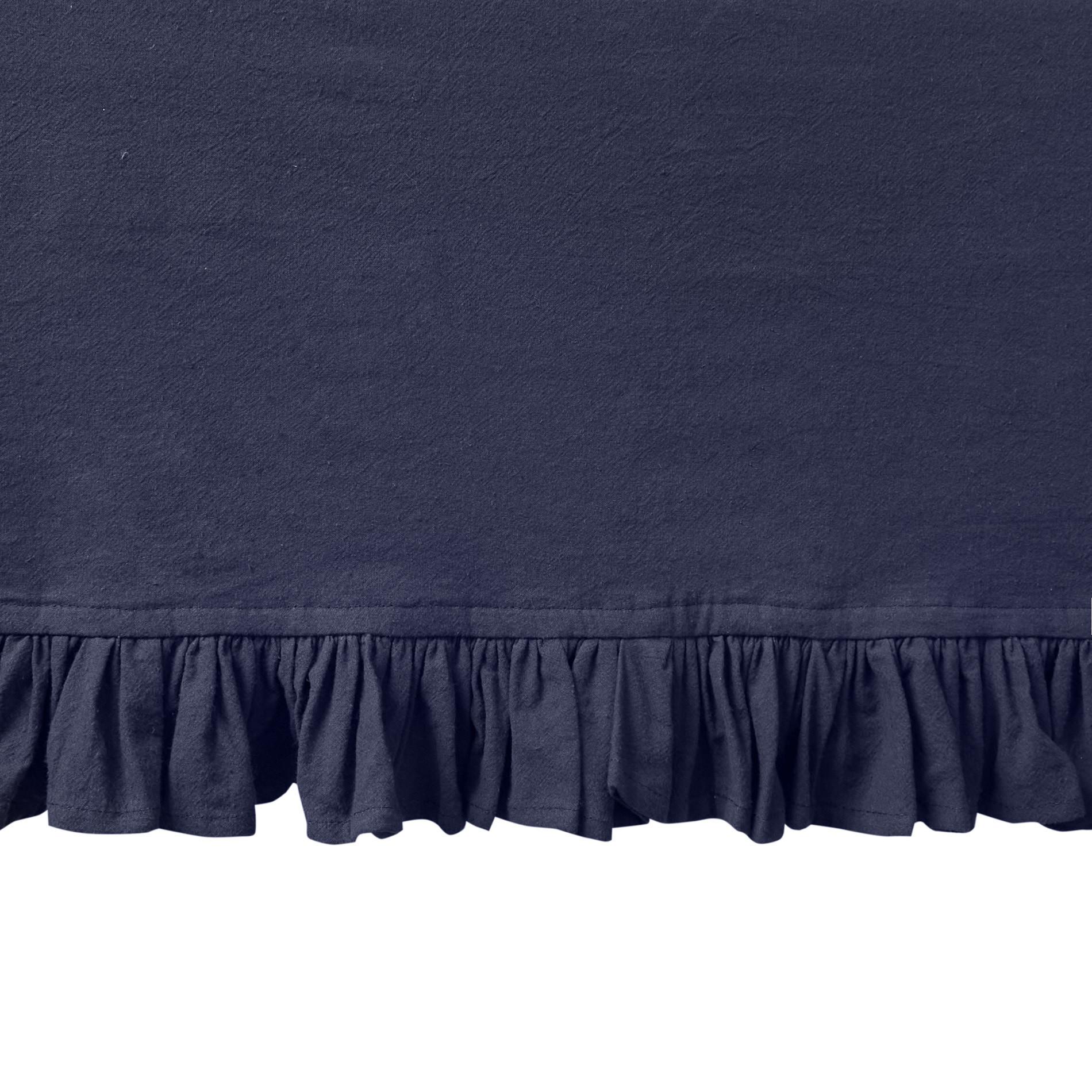 Tovaglia puro cotone garment washed bordo volant, Blu scuro, large image number 1