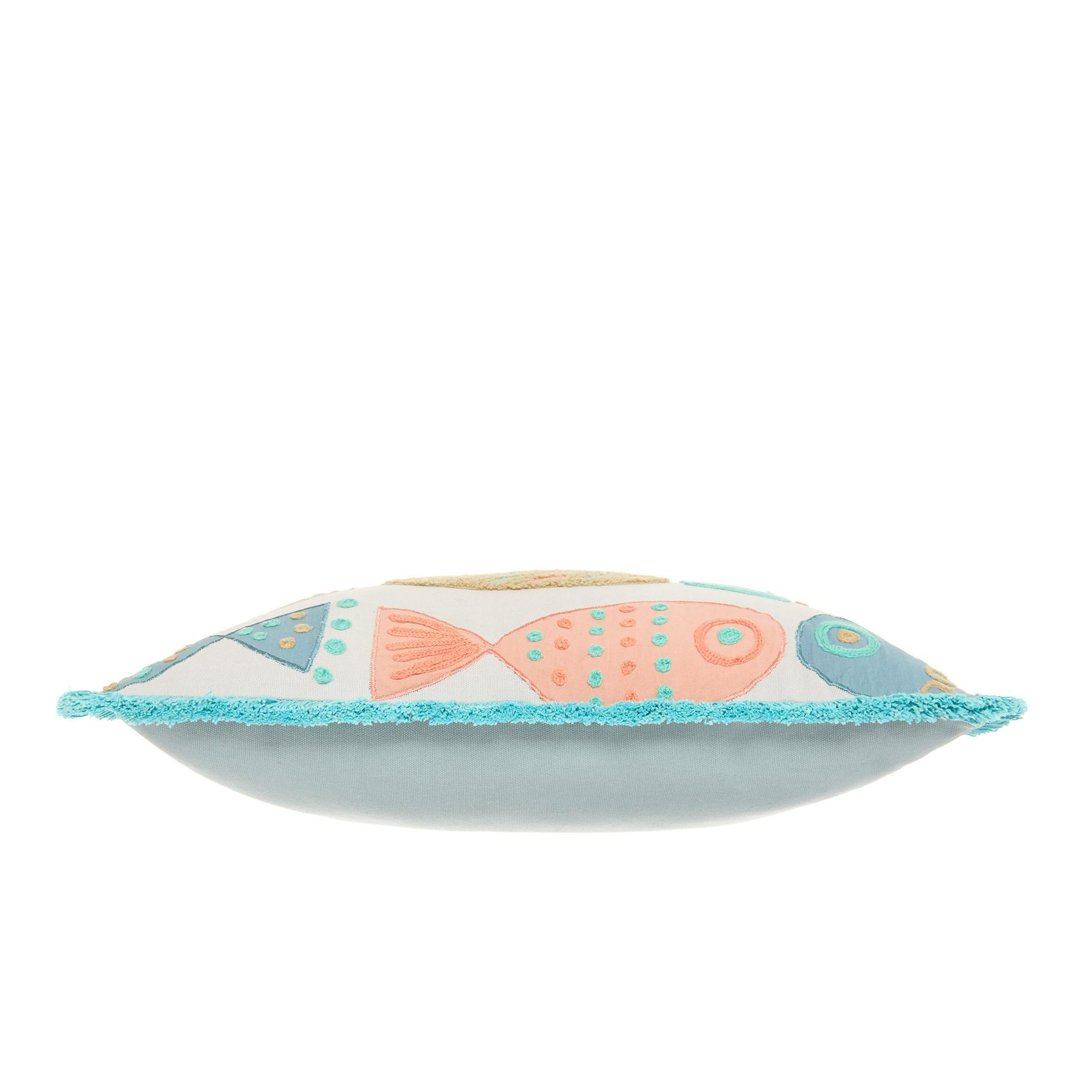 Cuscino ricamo pesci 45x45cm, Bianco, large image number 2