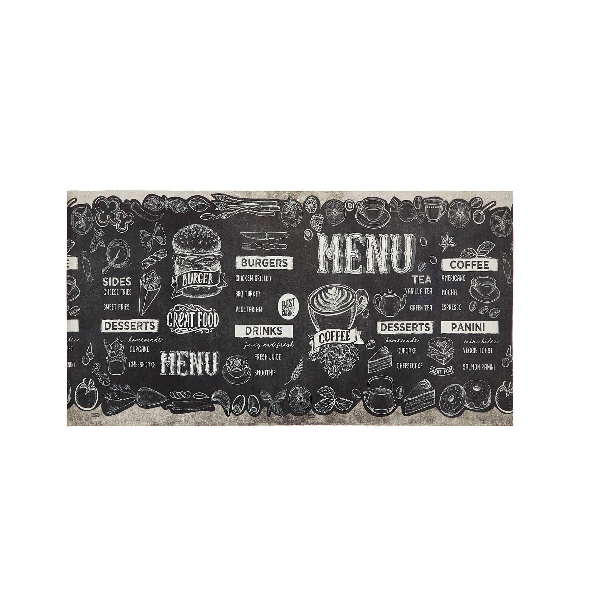 Tappeto da cucina PVC stampa food, Nero, large image number 0