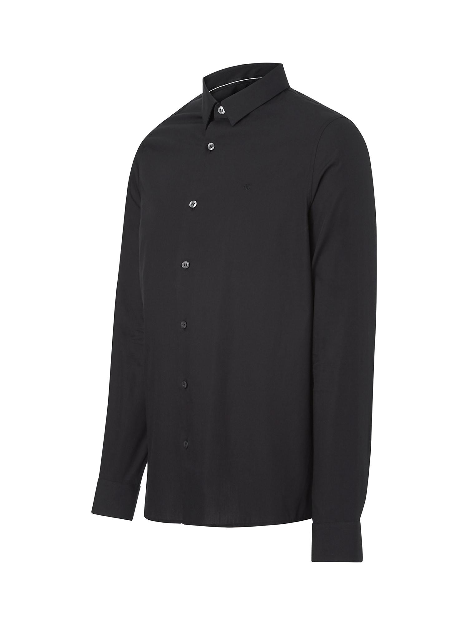 Camicia in cotone elasticizzato, Nero, large image number 2