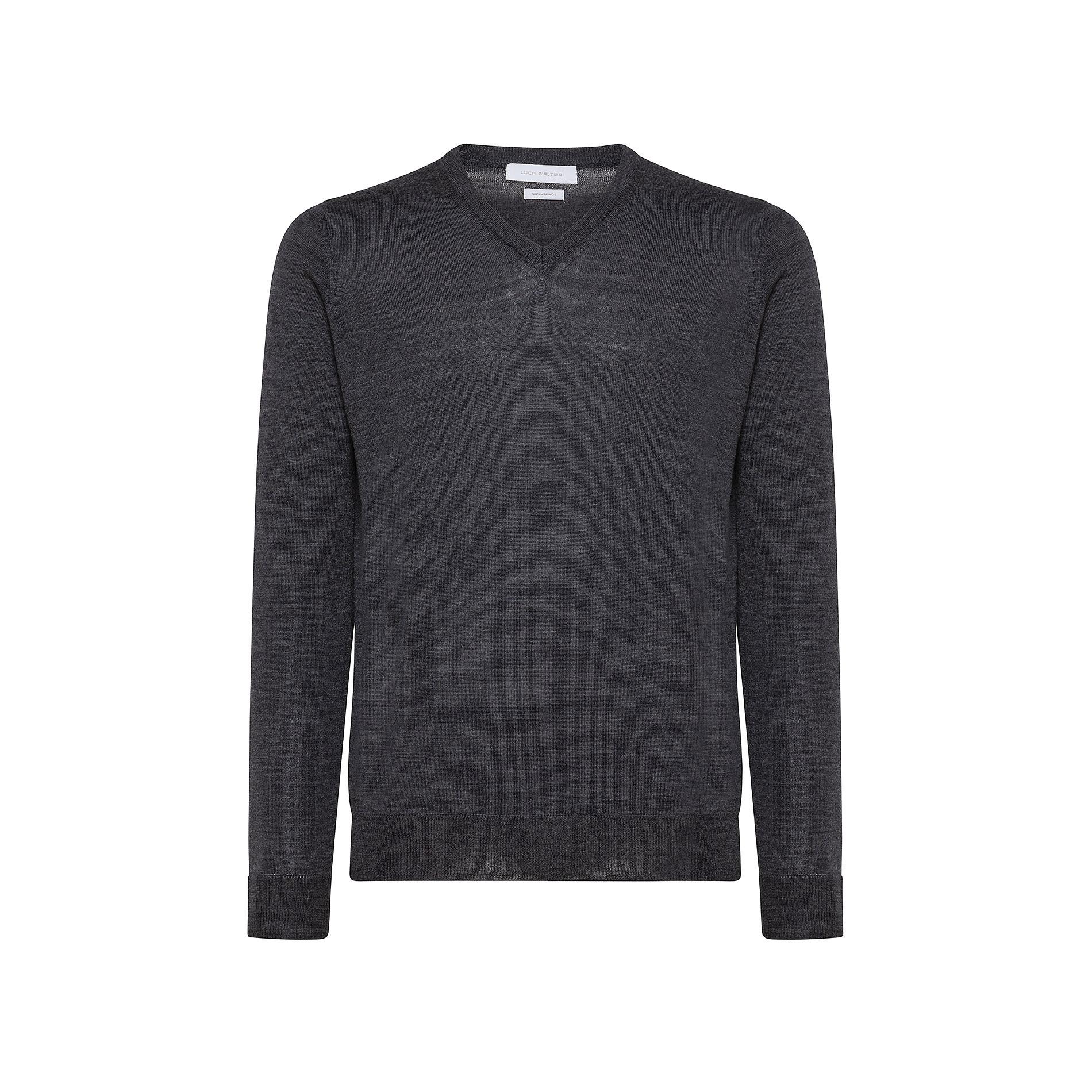 Pullover lana merinos extrafine scollo a V, Grigio chiaro, large image number 0