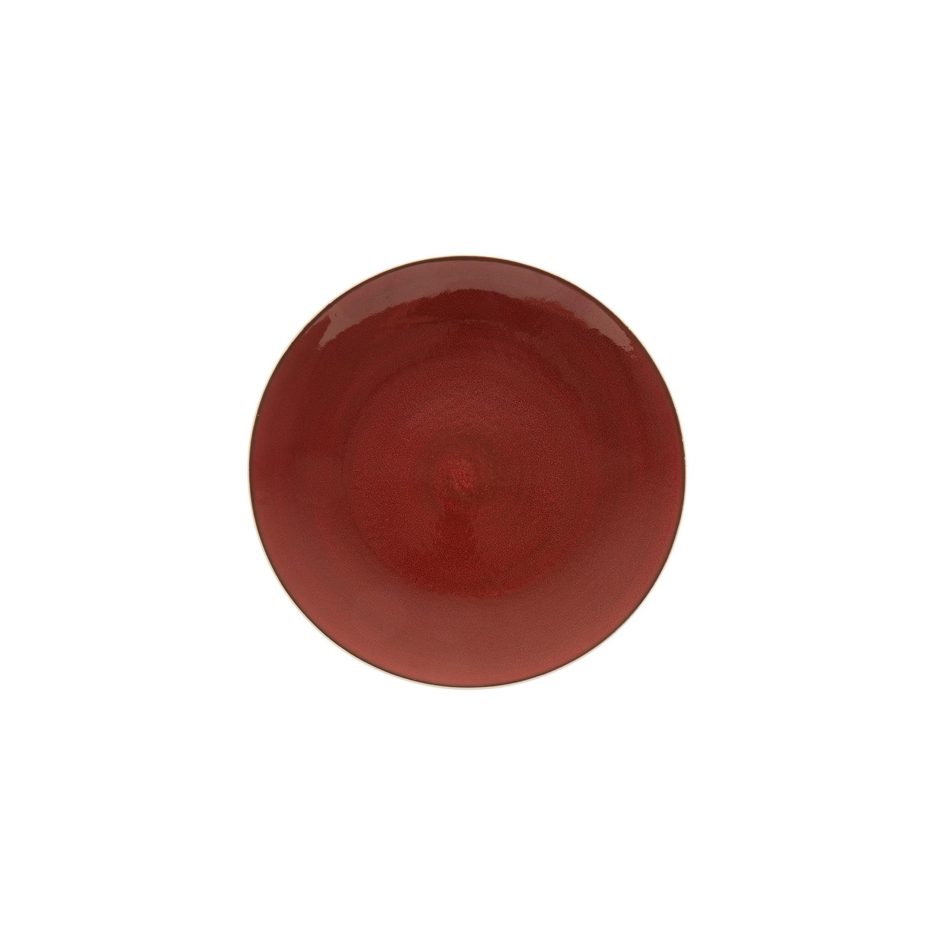 Piatto frutta porcellana effetto puntinato, Bianco/Rosso, large image number 0