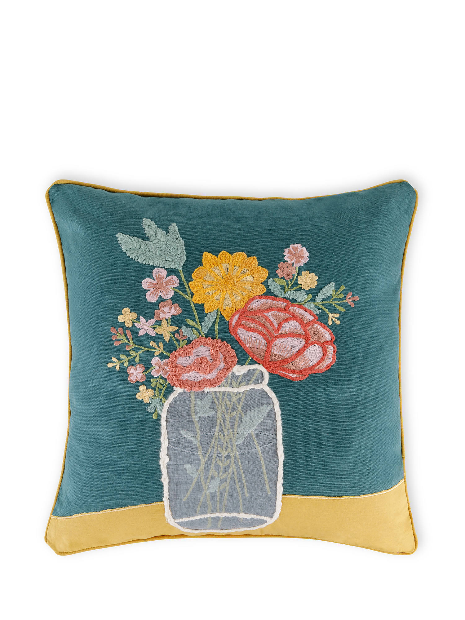 Cuscino cotone ricamo vaso 45x45cm, Multicolor, large image number 0