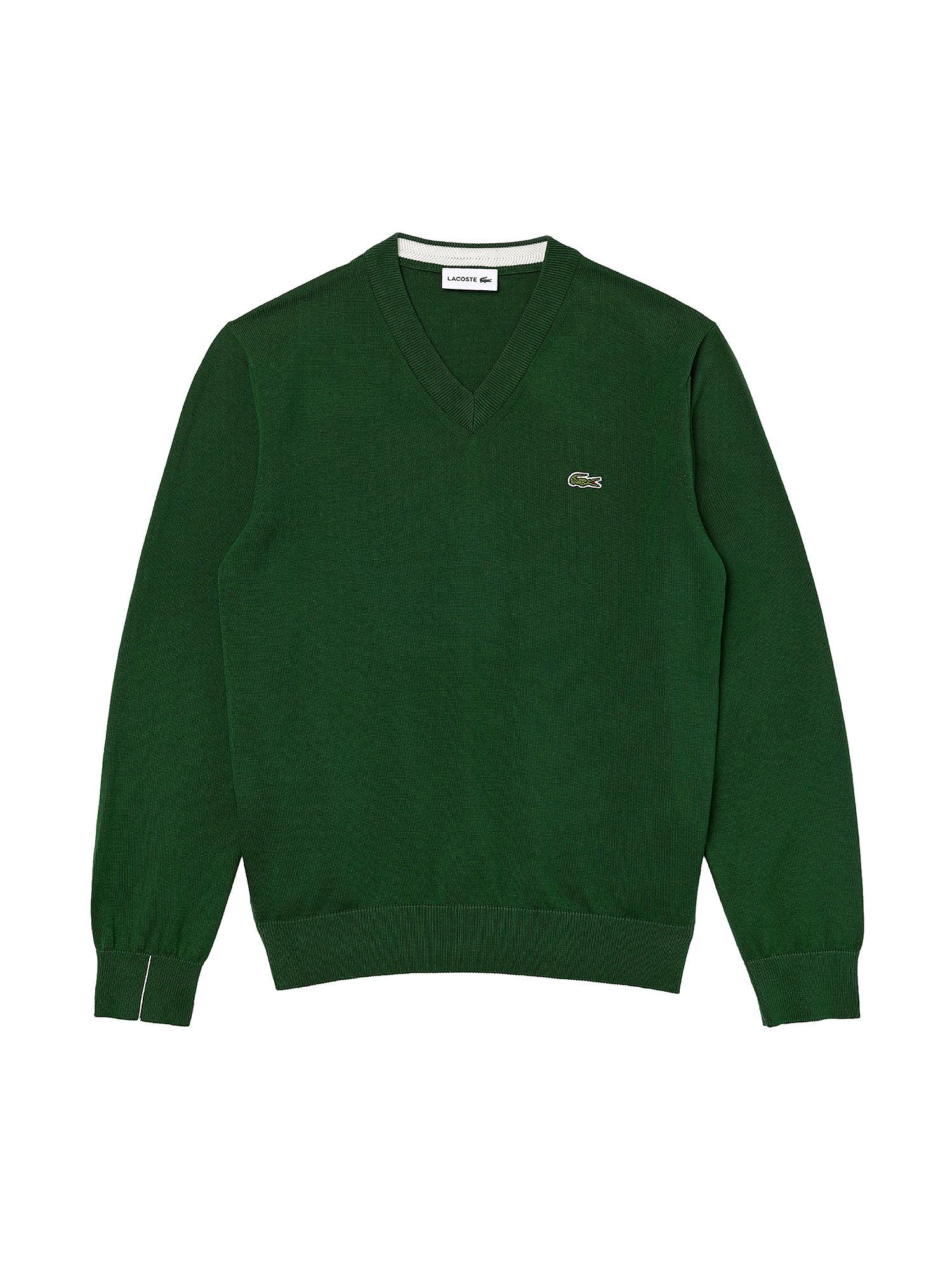 Pullover uomo scollo a V in cotone, Verde, large image number 0