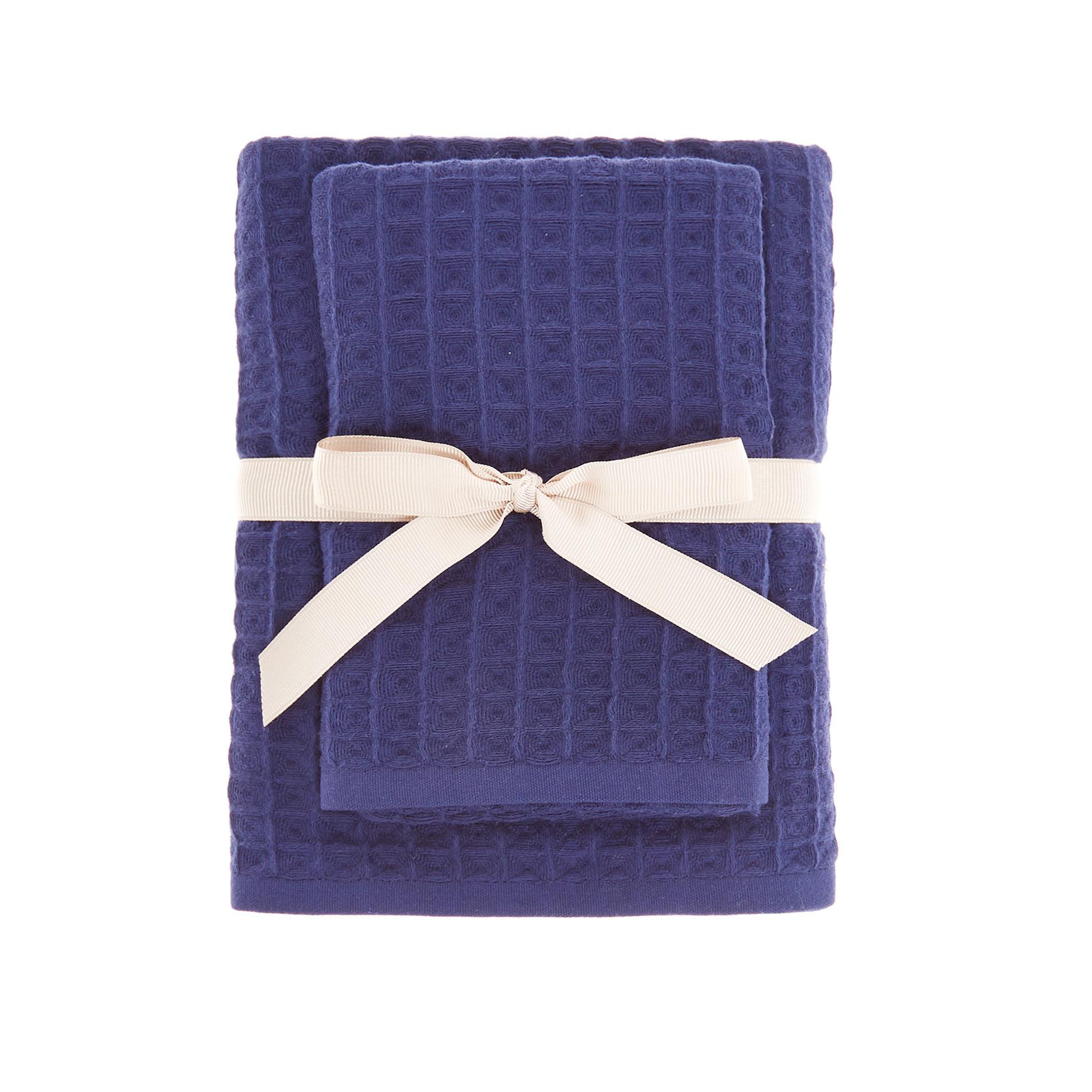Set asciugamani cotone nido d'ape tinta unita, Blu scuro, large image number 1