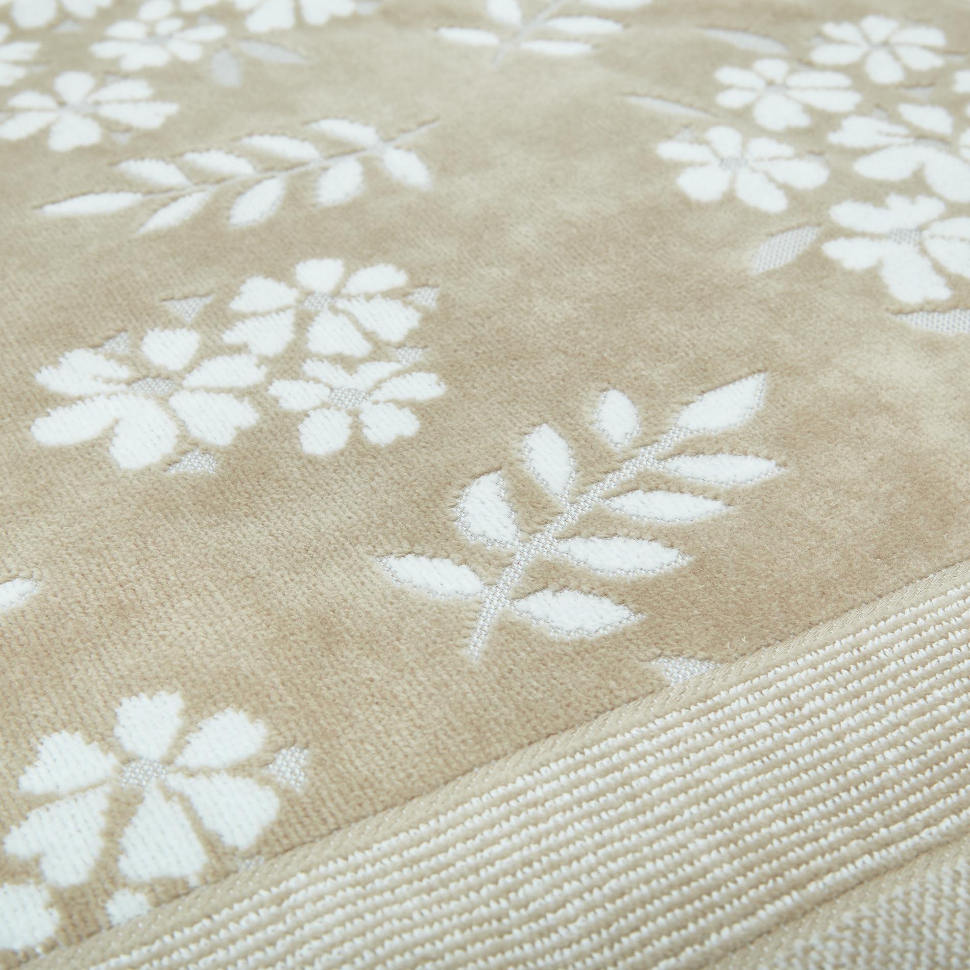 Asciugamano cotone velour motivo floreale Portofino, Beige, large image number 2