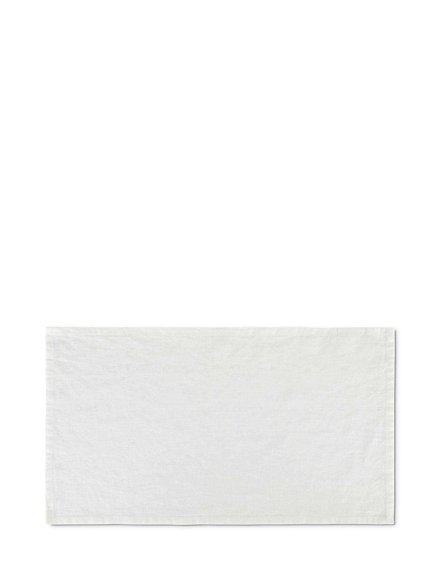 Tovaglietta lino lavato tinta unita, Bianco, large image number 0