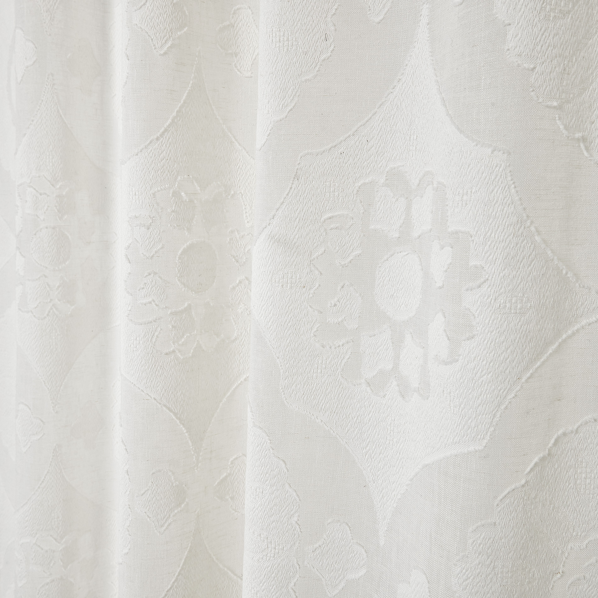 Tenda devore motivo geometrico passanti nascosti, Bianco, large image number 0