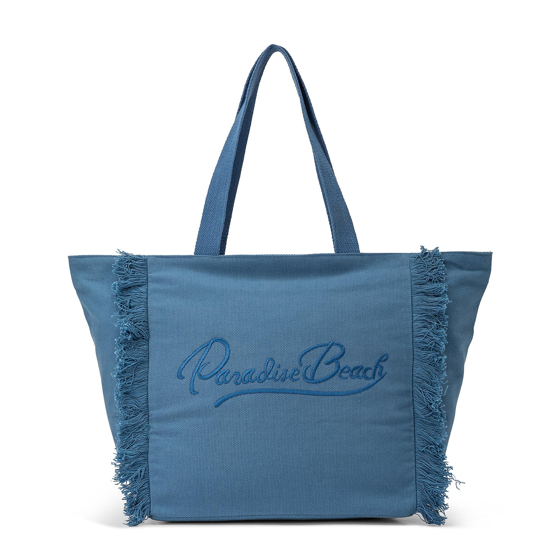 Shopper in canvas di cotone con ricamo, Blu, large image number 0