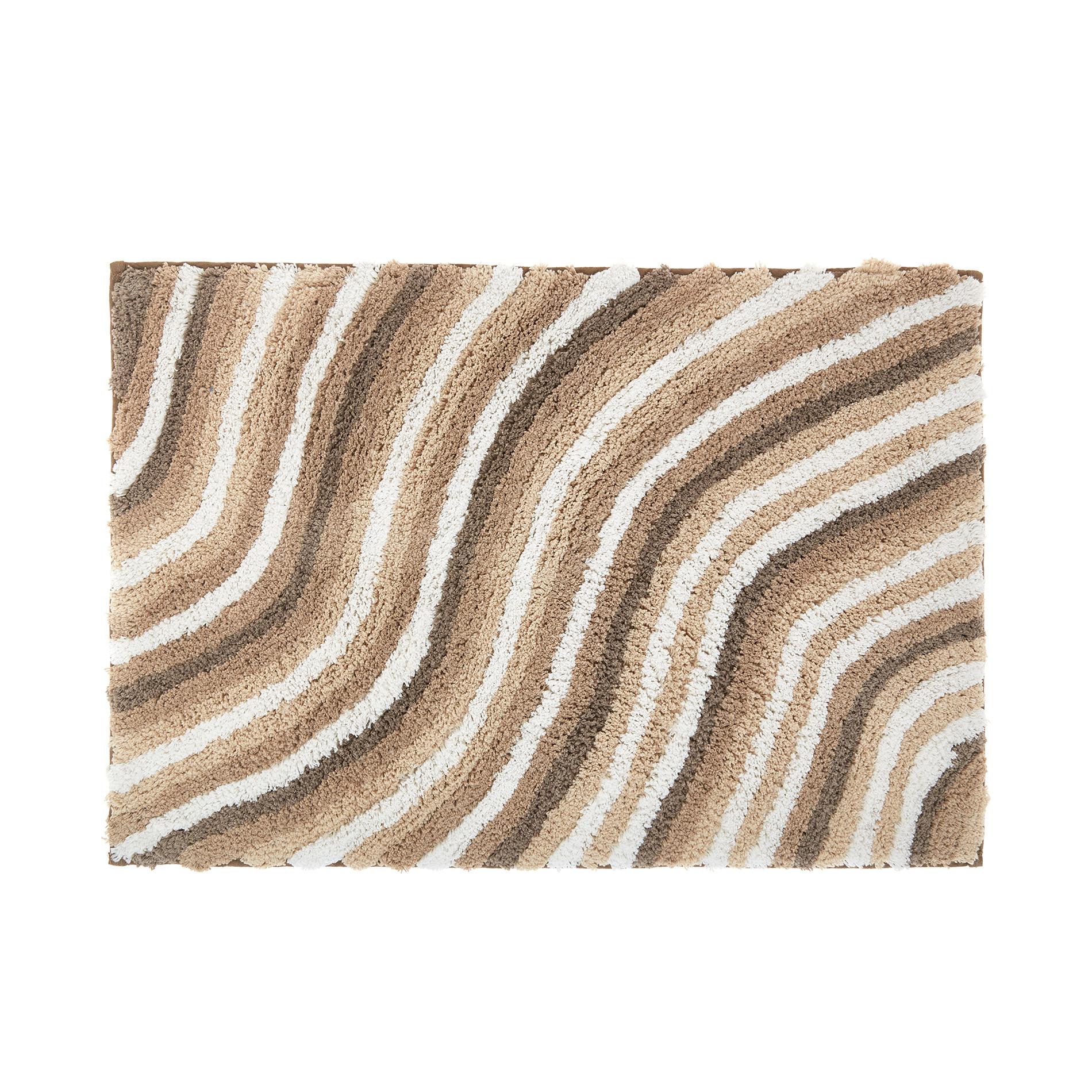 Tappeto bagno cotone motivo onde, Beige, large image number 0