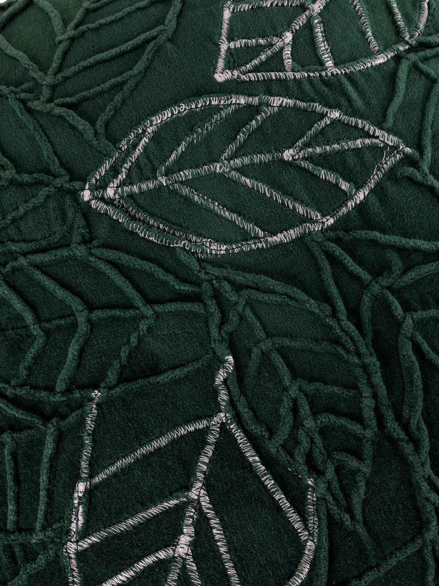 Cuscino velluto motivo foglie 45x45cm, Verde, large image number 2